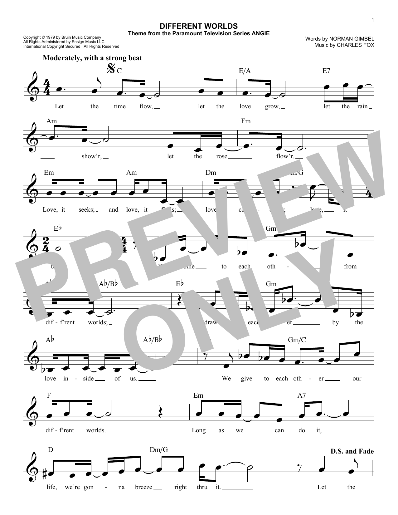 Different Worlds (Lead Sheet / Fake Book)