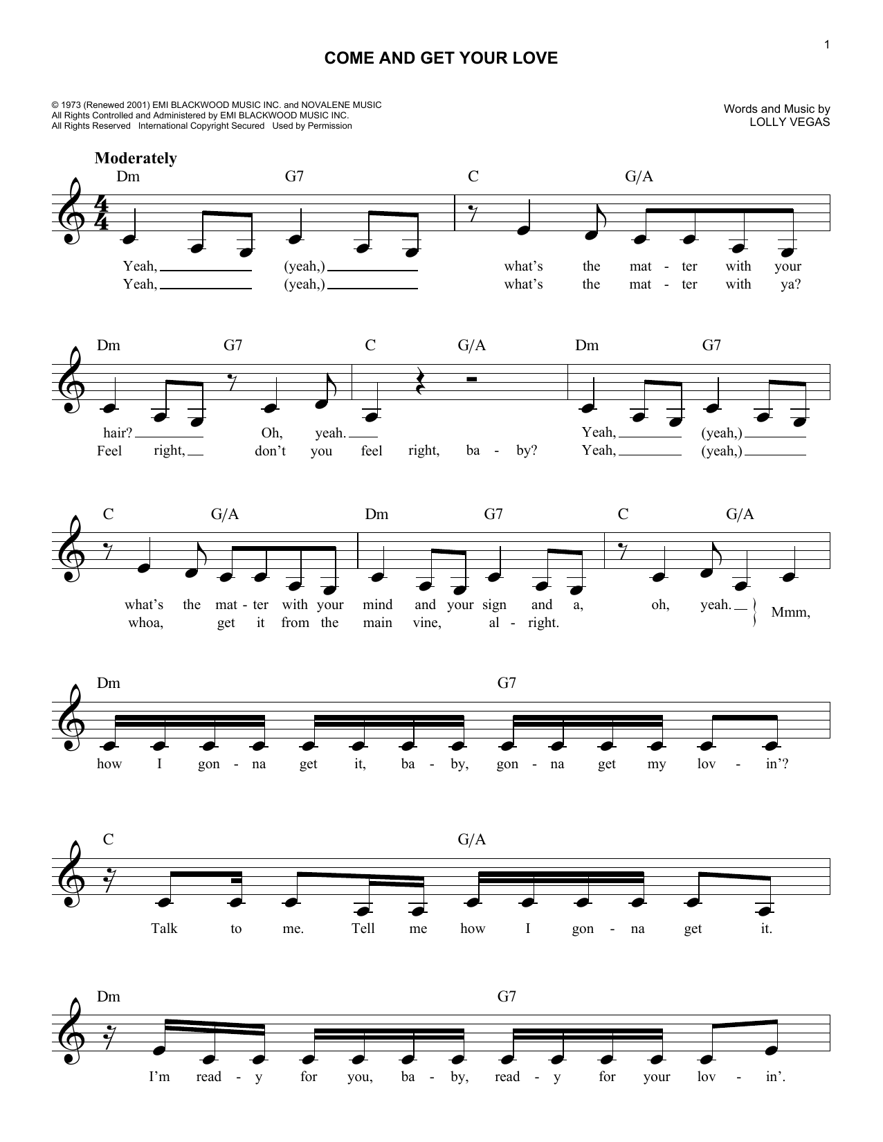 Come and get your love chords by redbone melody line lyrics come and get your love sheet music hexwebz Choice Image
