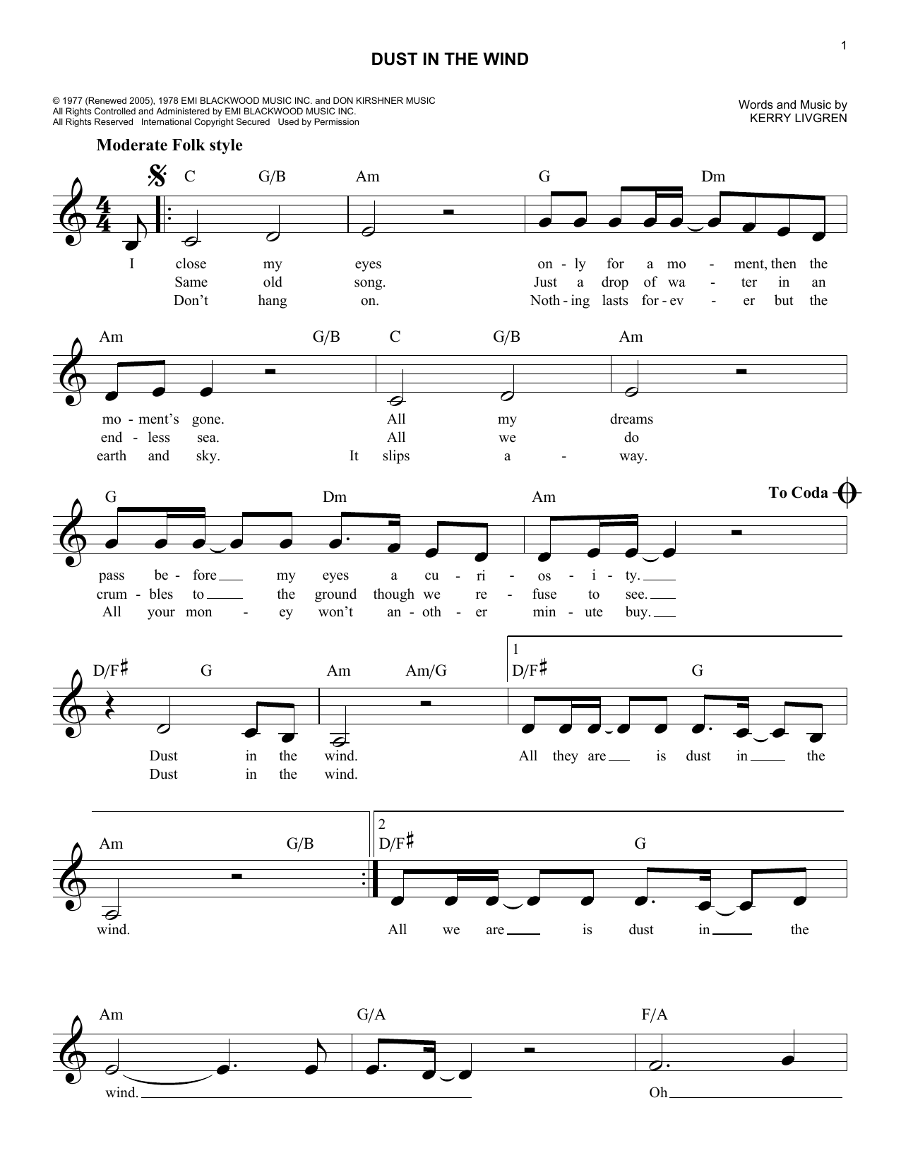 Dust In The Wind (Lead Sheet / Fake Book)