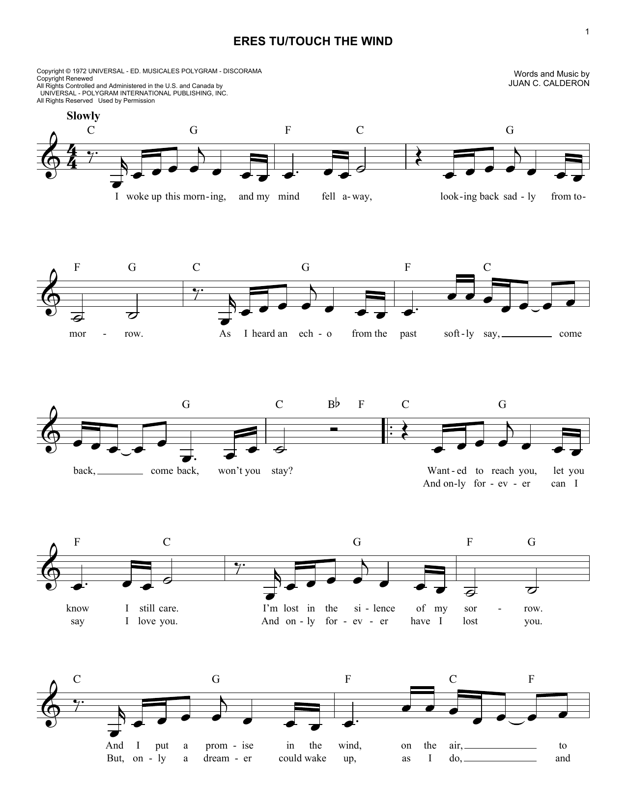 Eres Tu/Touch The Wind Sheet Music