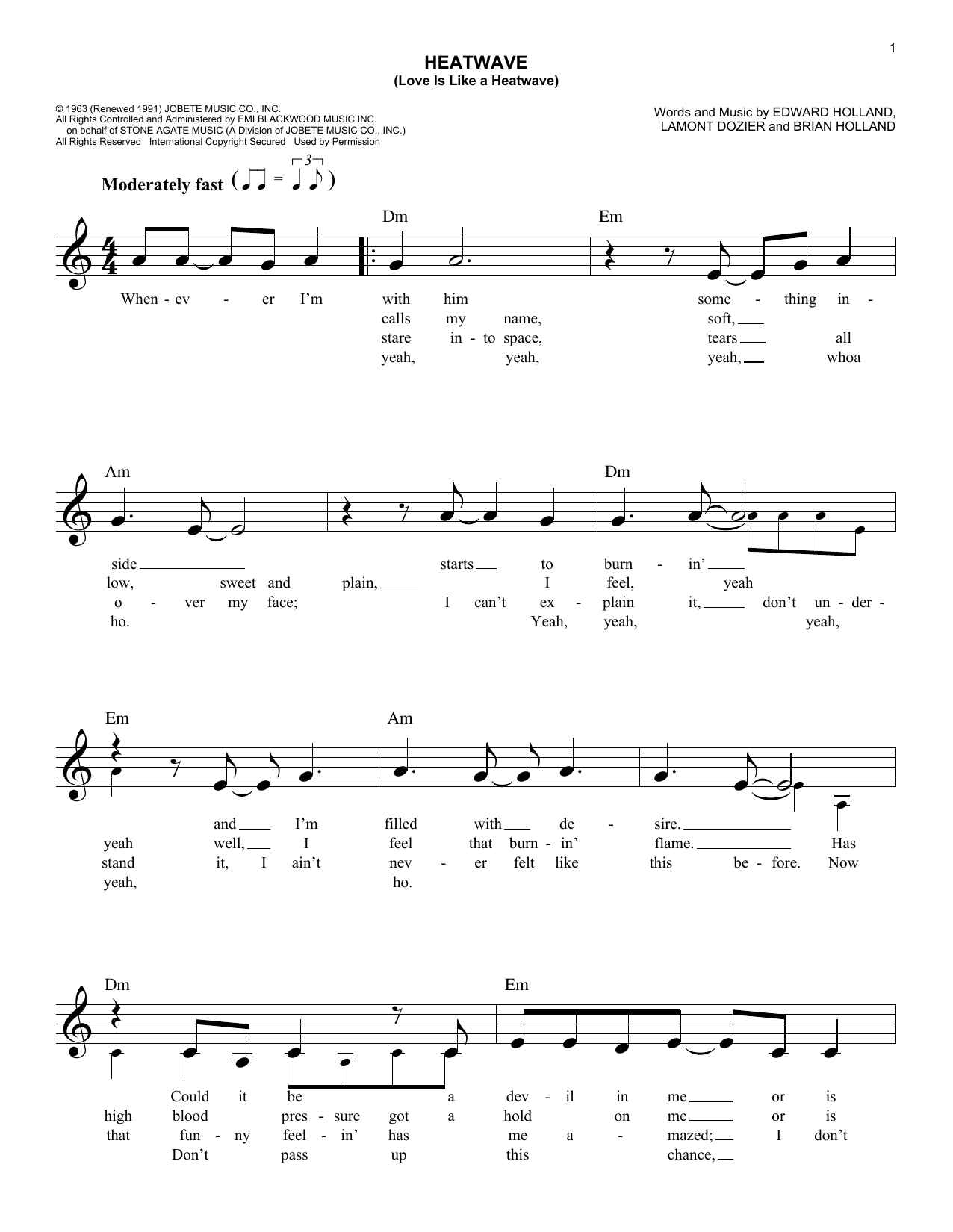 Heatwave (Love Is Like A Heatwave) (Lead Sheet / Fake Book)