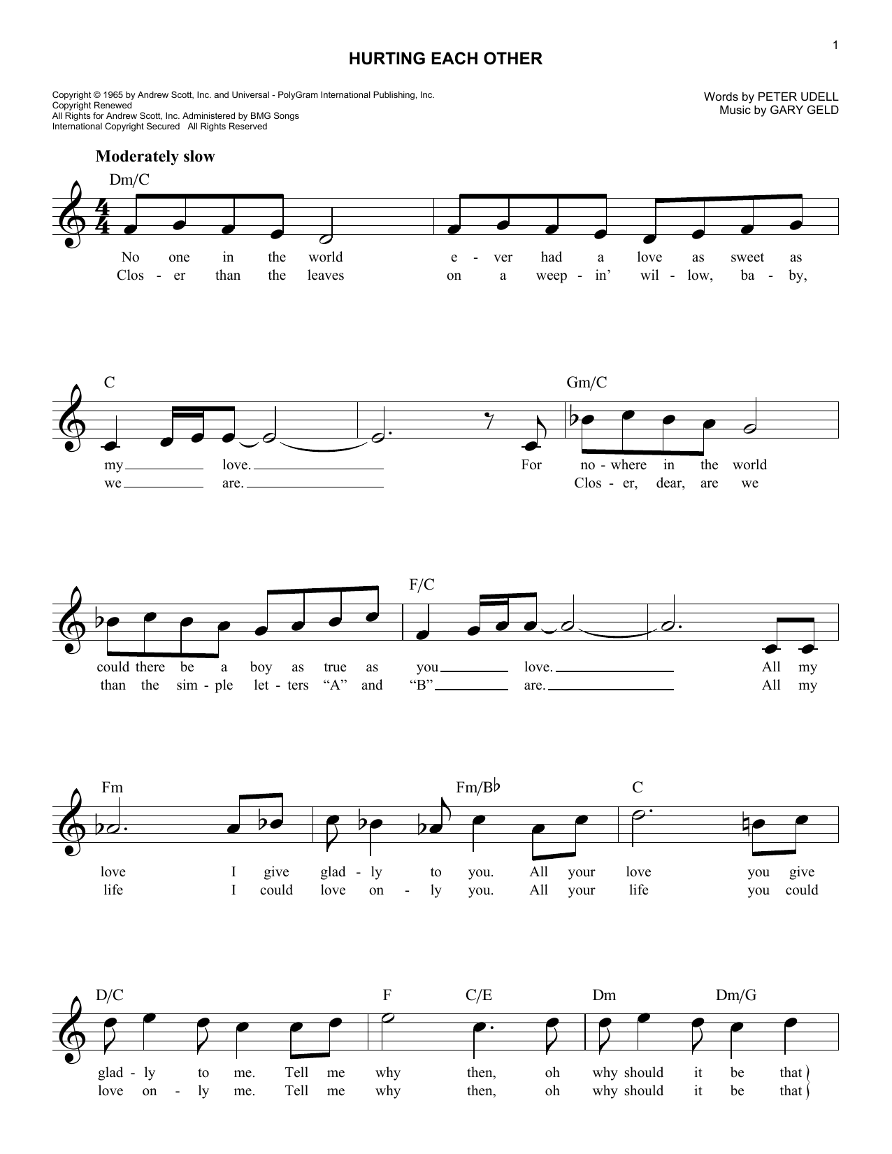 Hurting Each Other (Lead Sheet / Fake Book)