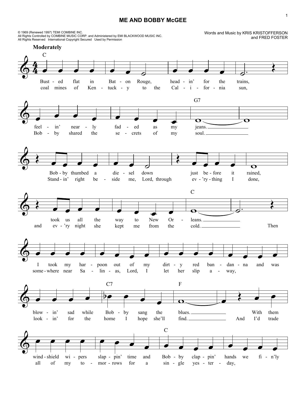 Kris Kristofferson - Me And Bobby Mcgee Lyrics | MetroLyrics