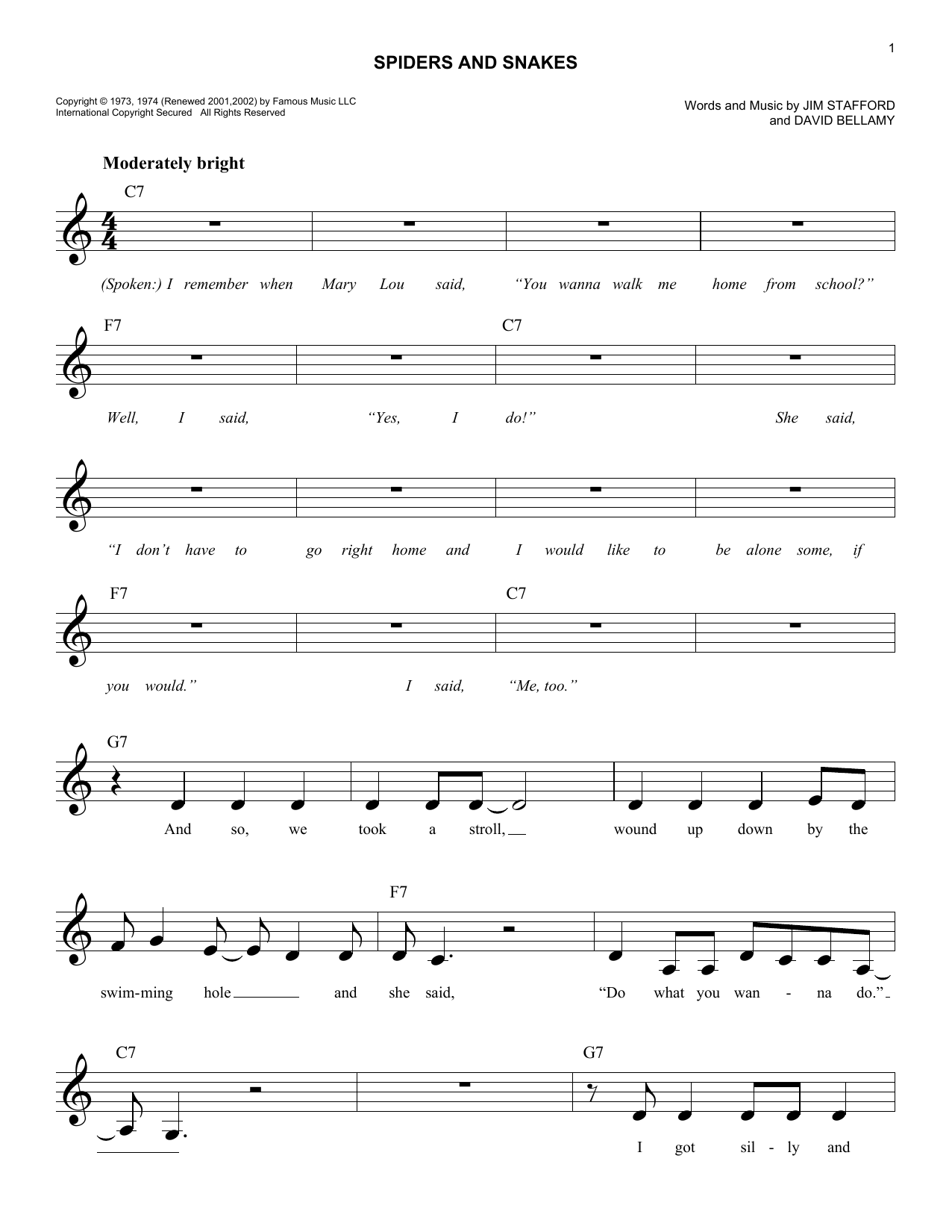 Spiders And Snakes Sheet Music