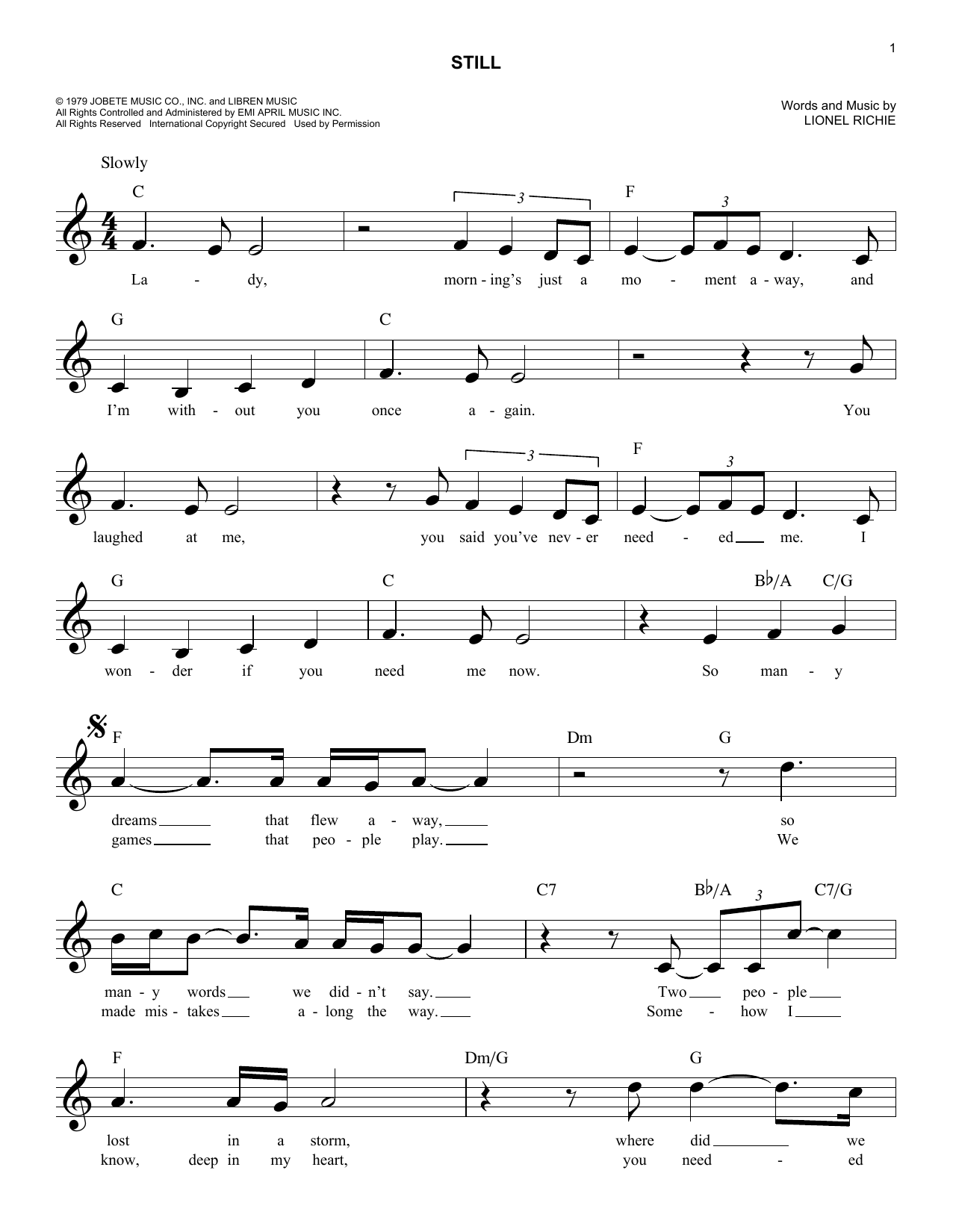 Still chords by the commodores melody line lyrics chords 187324 still sheet music hexwebz Image collections
