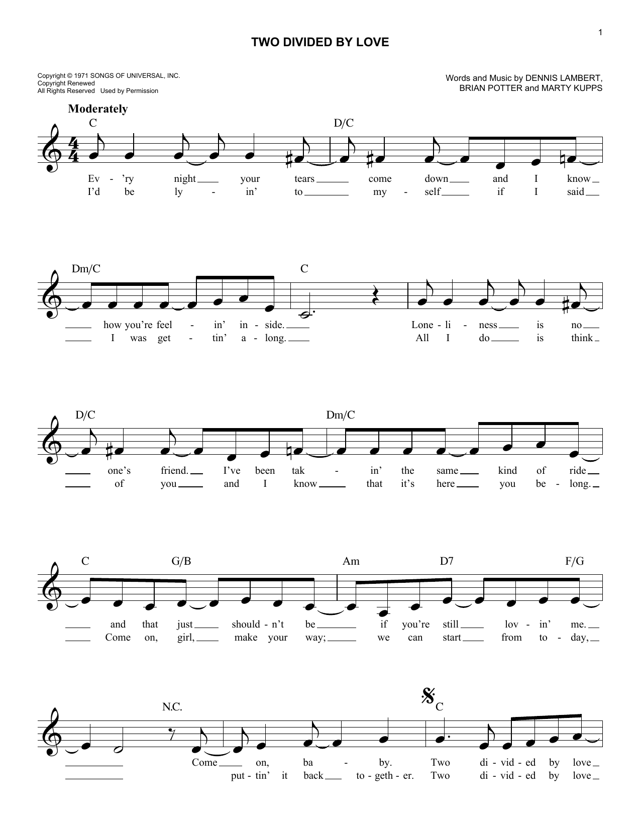 Two Divided By Love (Lead Sheet / Fake Book)