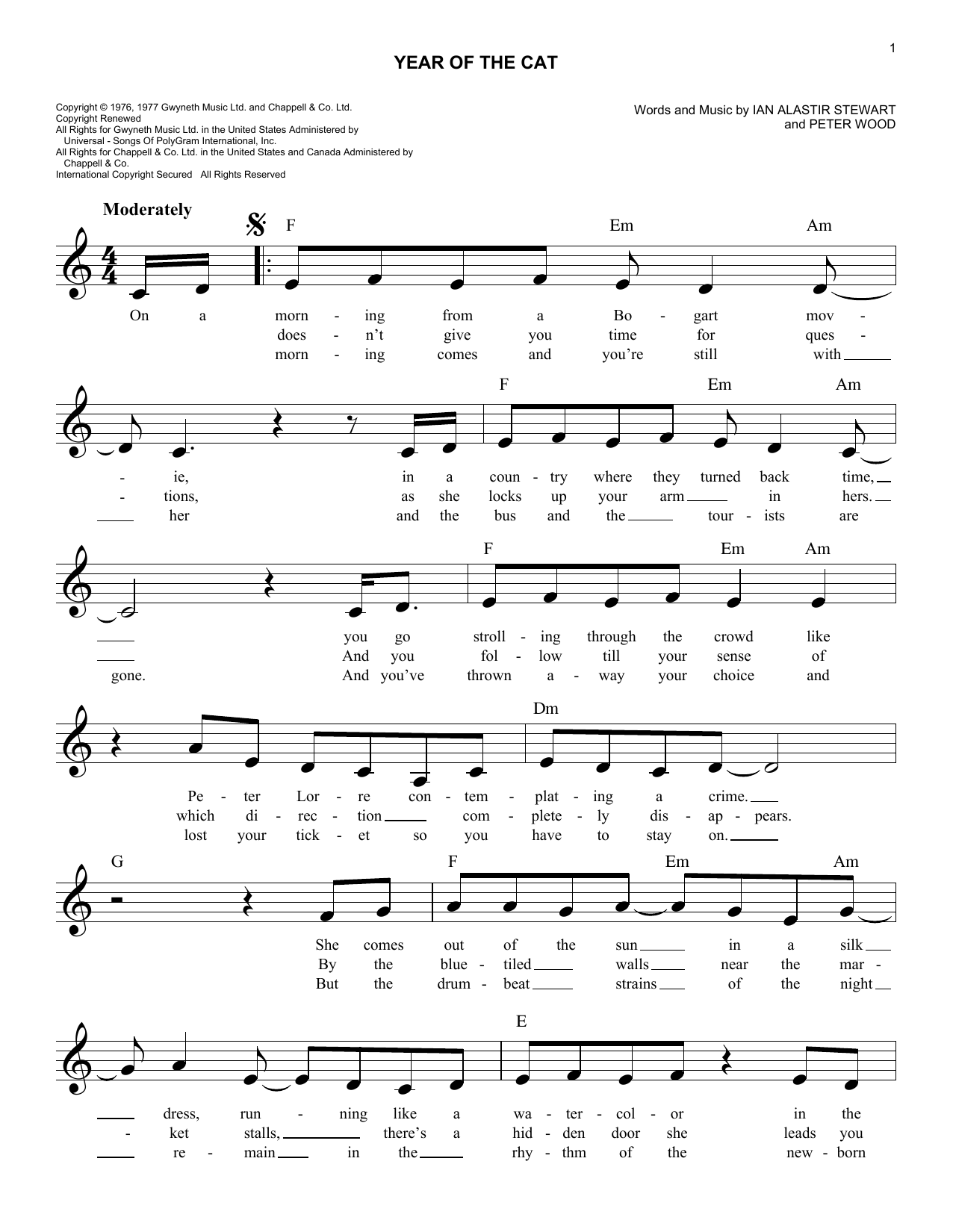 Year Of The Cat Sheet Music
