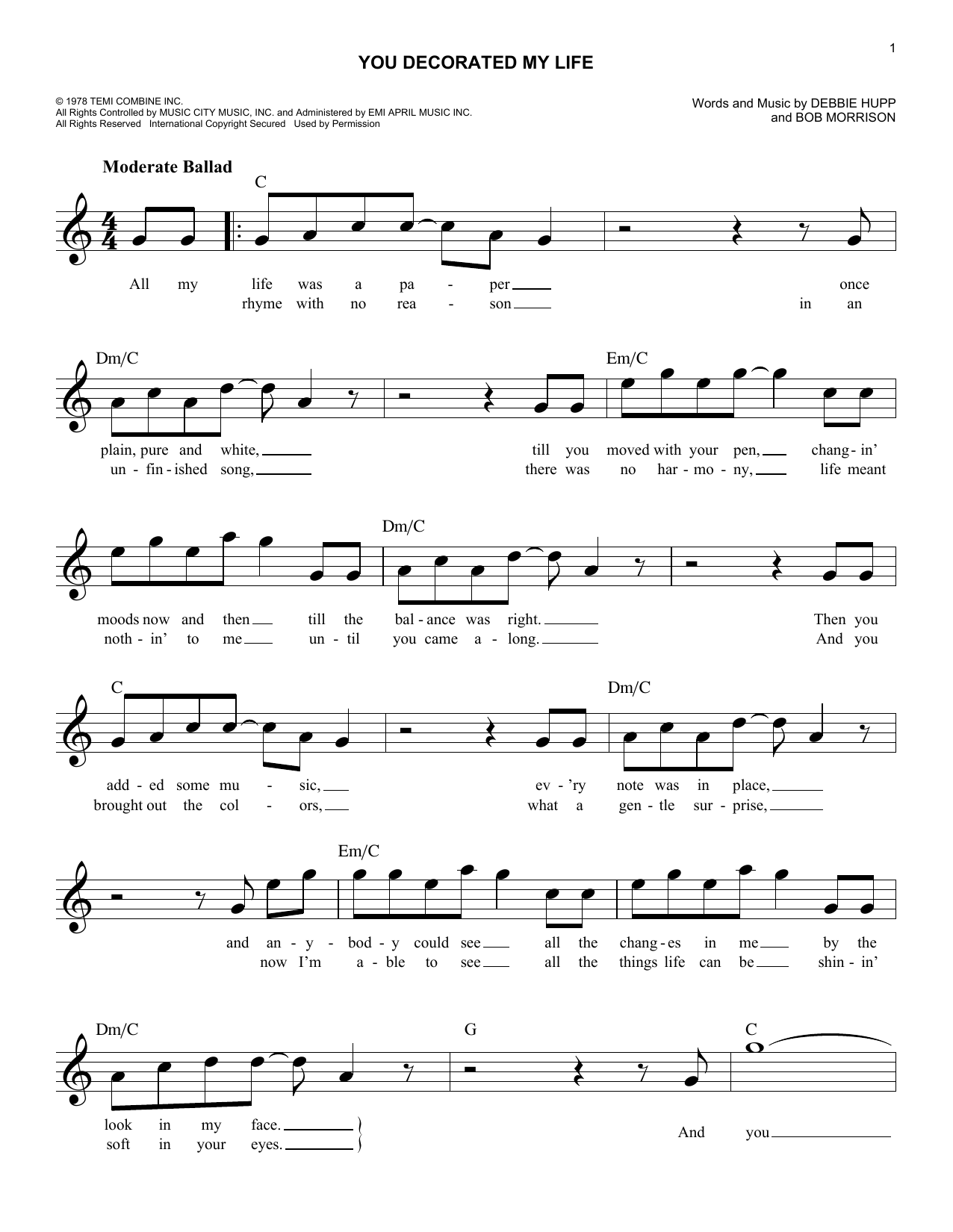 You Decorated My Life (Lead Sheet / Fake Book)