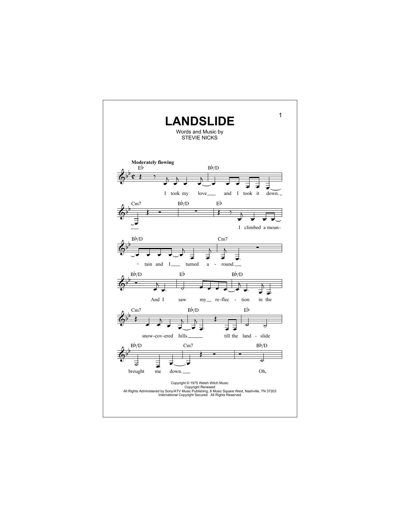 Landslide Chords By Fleetwood Mac Melody Line Lyrics Chords