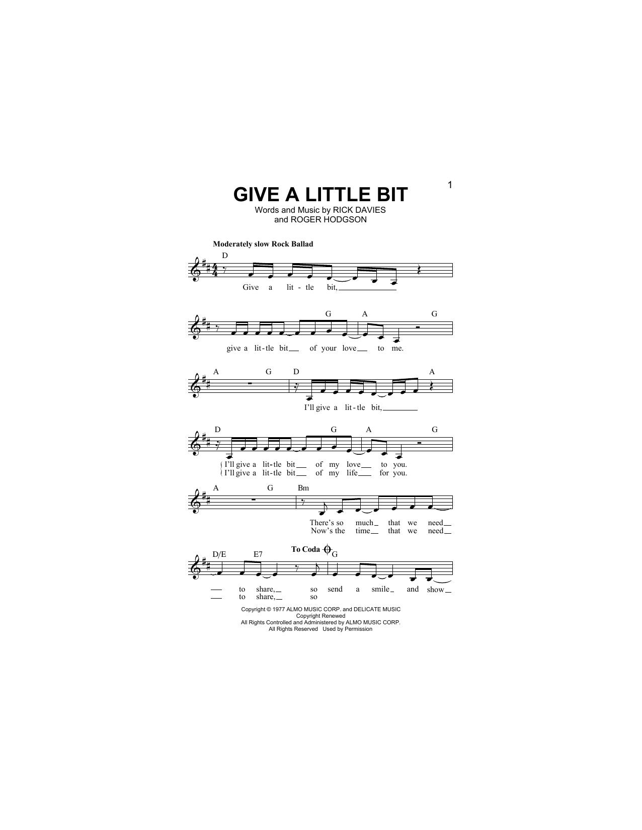 Give A Little Bit (Lead Sheet / Fake Book)