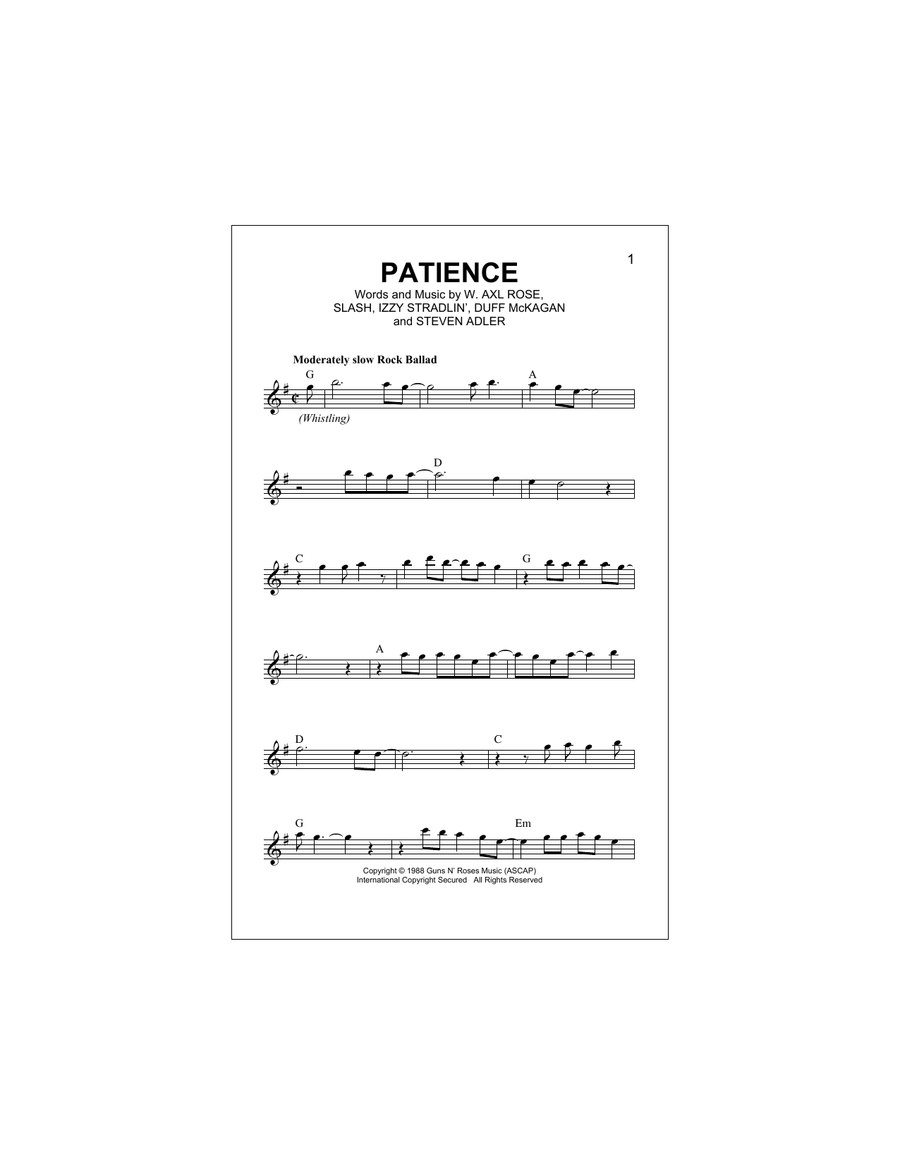 Patience (Lead Sheet / Fake Book)
