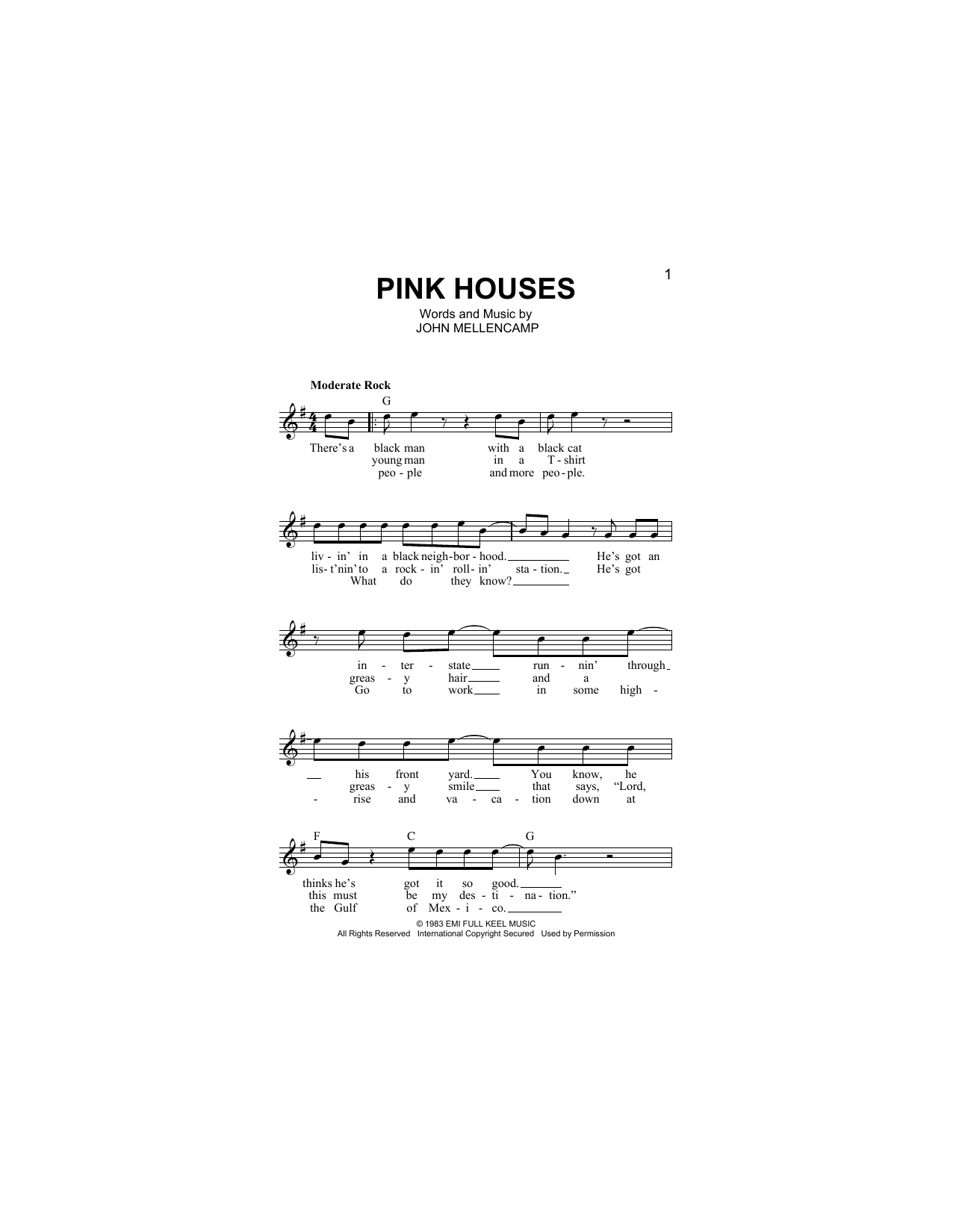 Pink Houses Sheet Music
