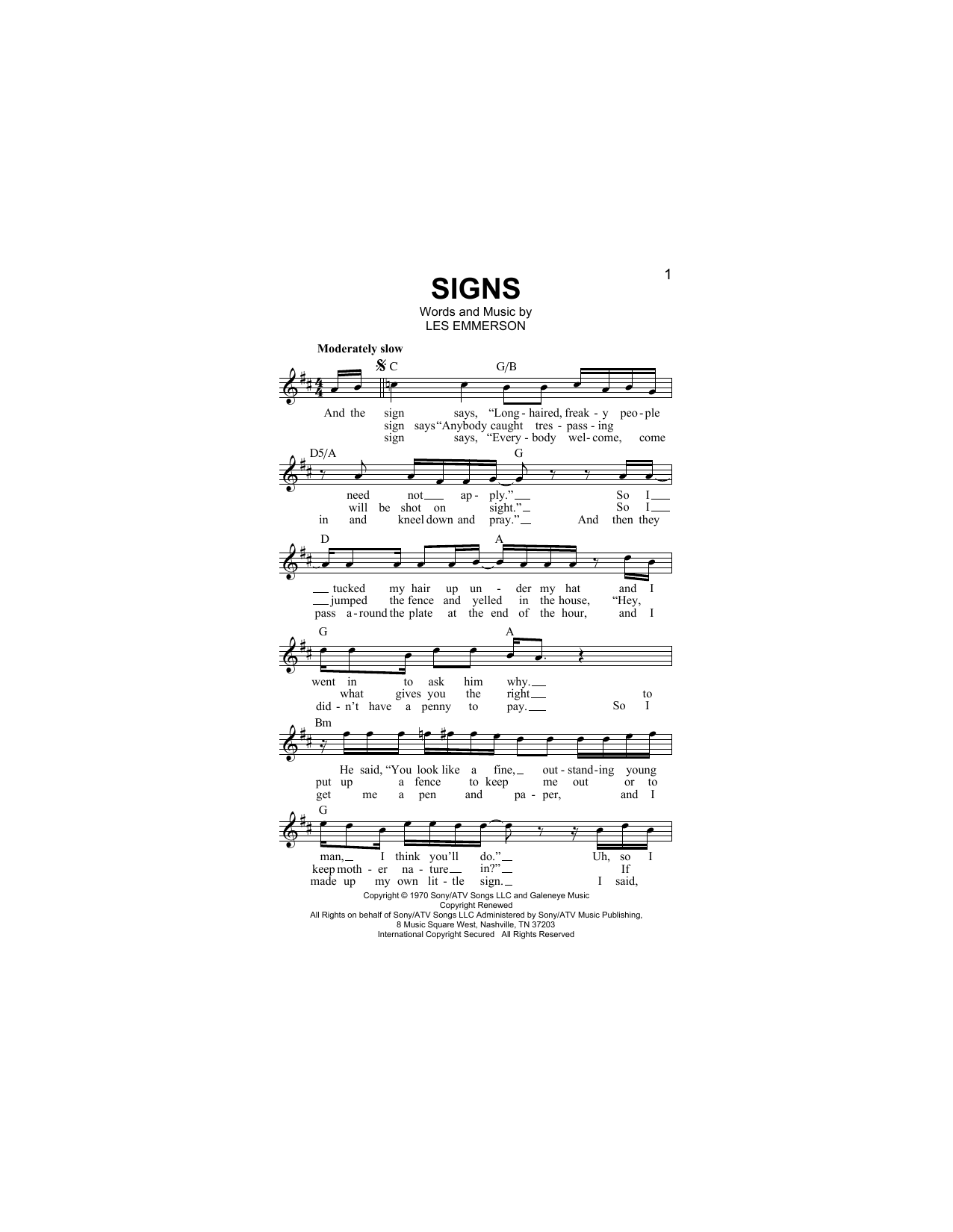 Signs Sheet Music