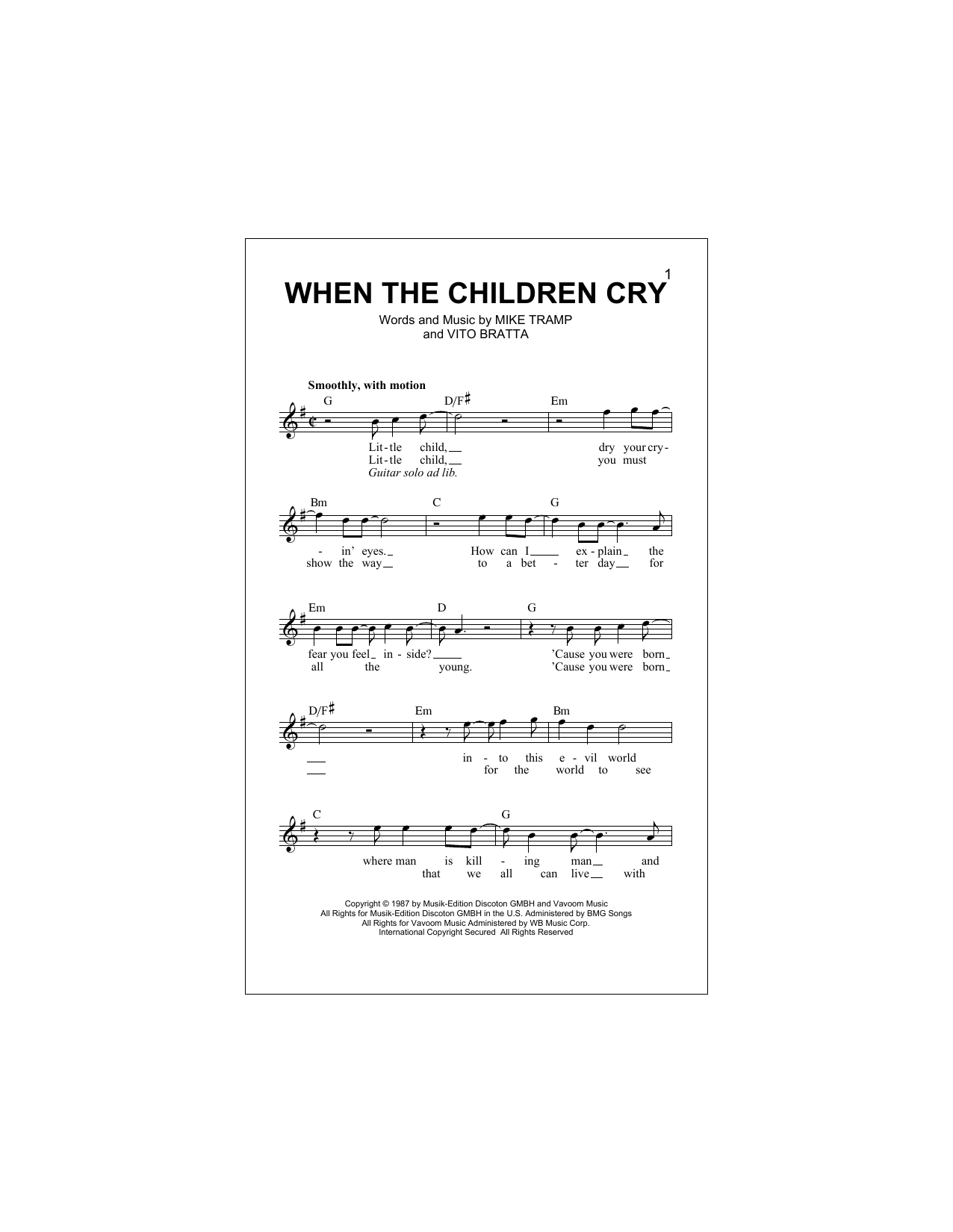 When The Children Cry Sheet Music