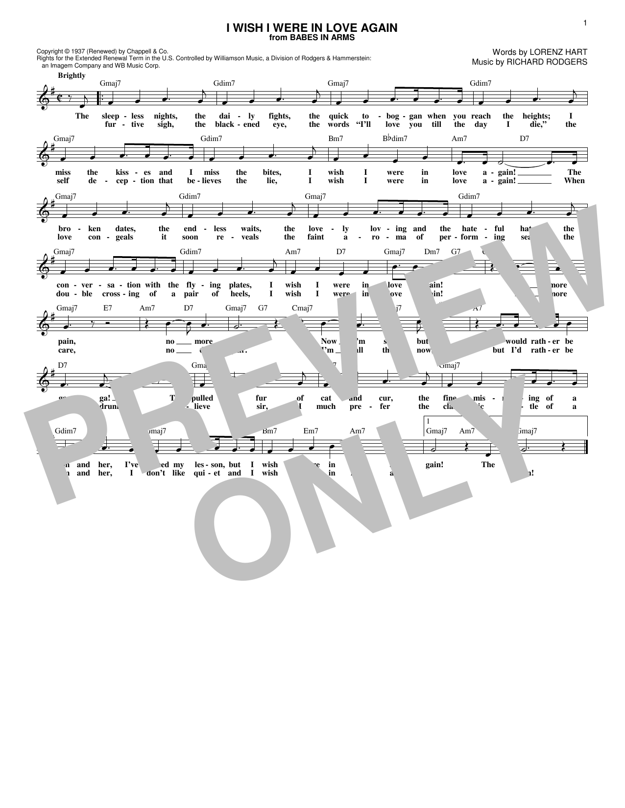 I Wish I Were In Love Again Sheet Music