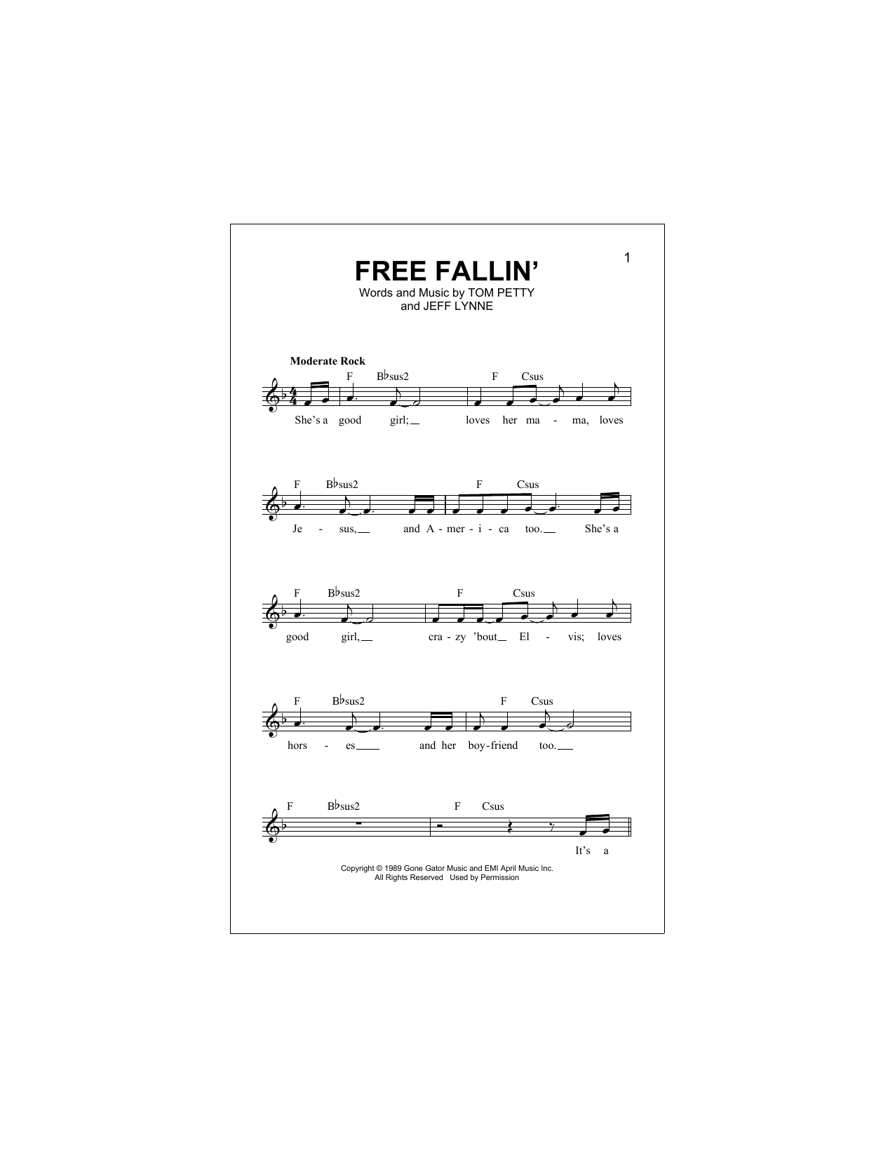 Free Fallin Sheet Music Tom Petty Melody Line Lyrics Chords