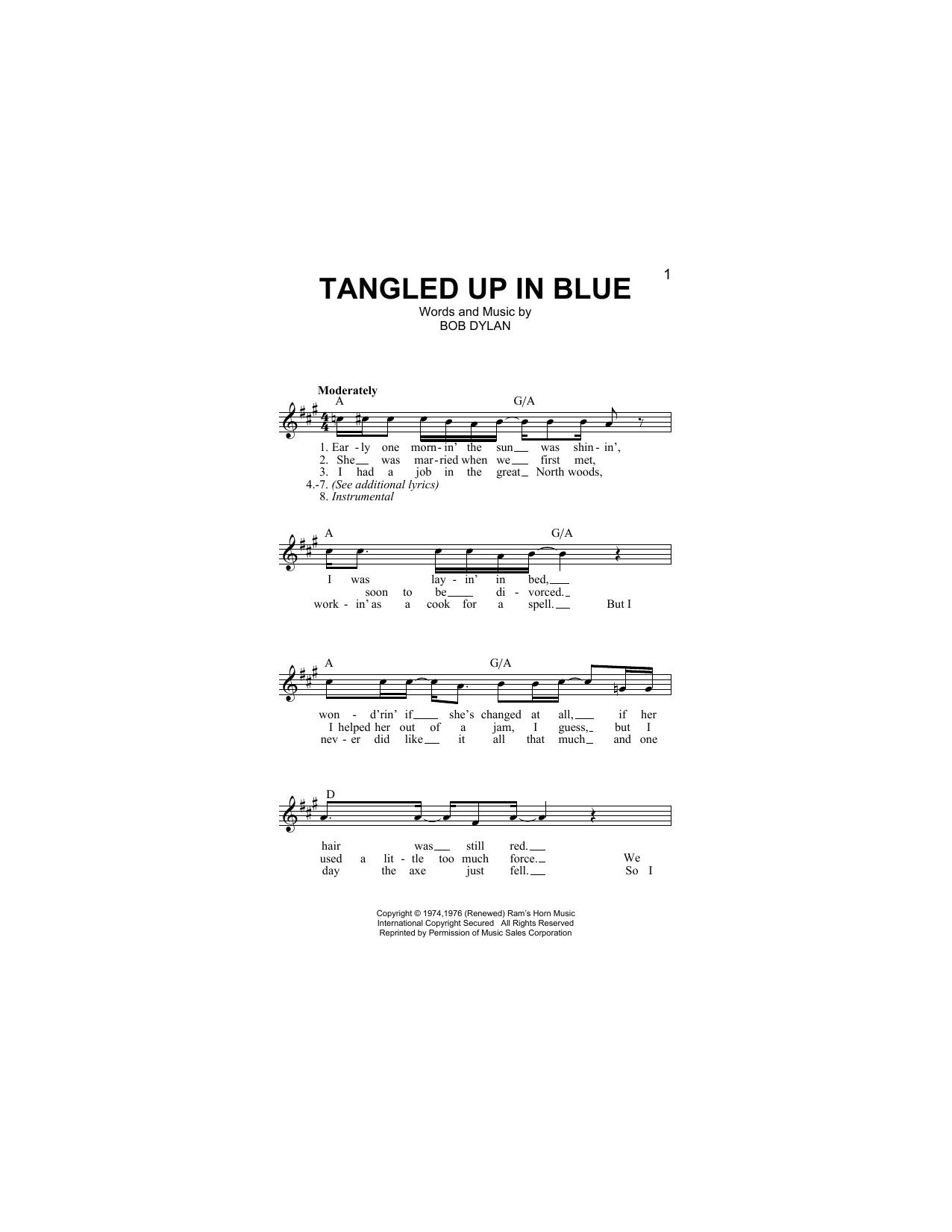 Tangled Up In Blue (Lead Sheet / Fake Book)