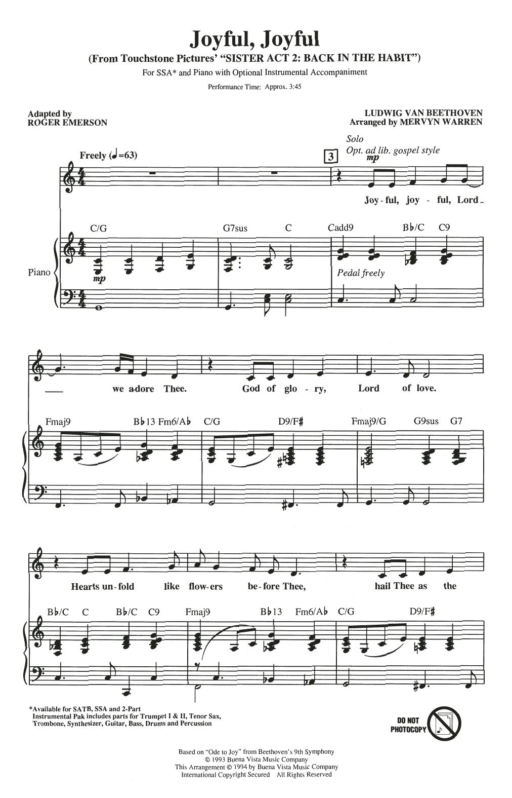 Joyful, Joyful (from Sister Act 2) (arr. Roger Emerson) Sheet Music