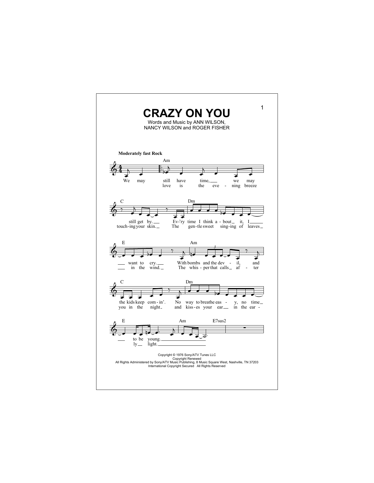 Crazy On You Sheet Music