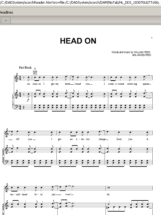 Head On Sheet Music