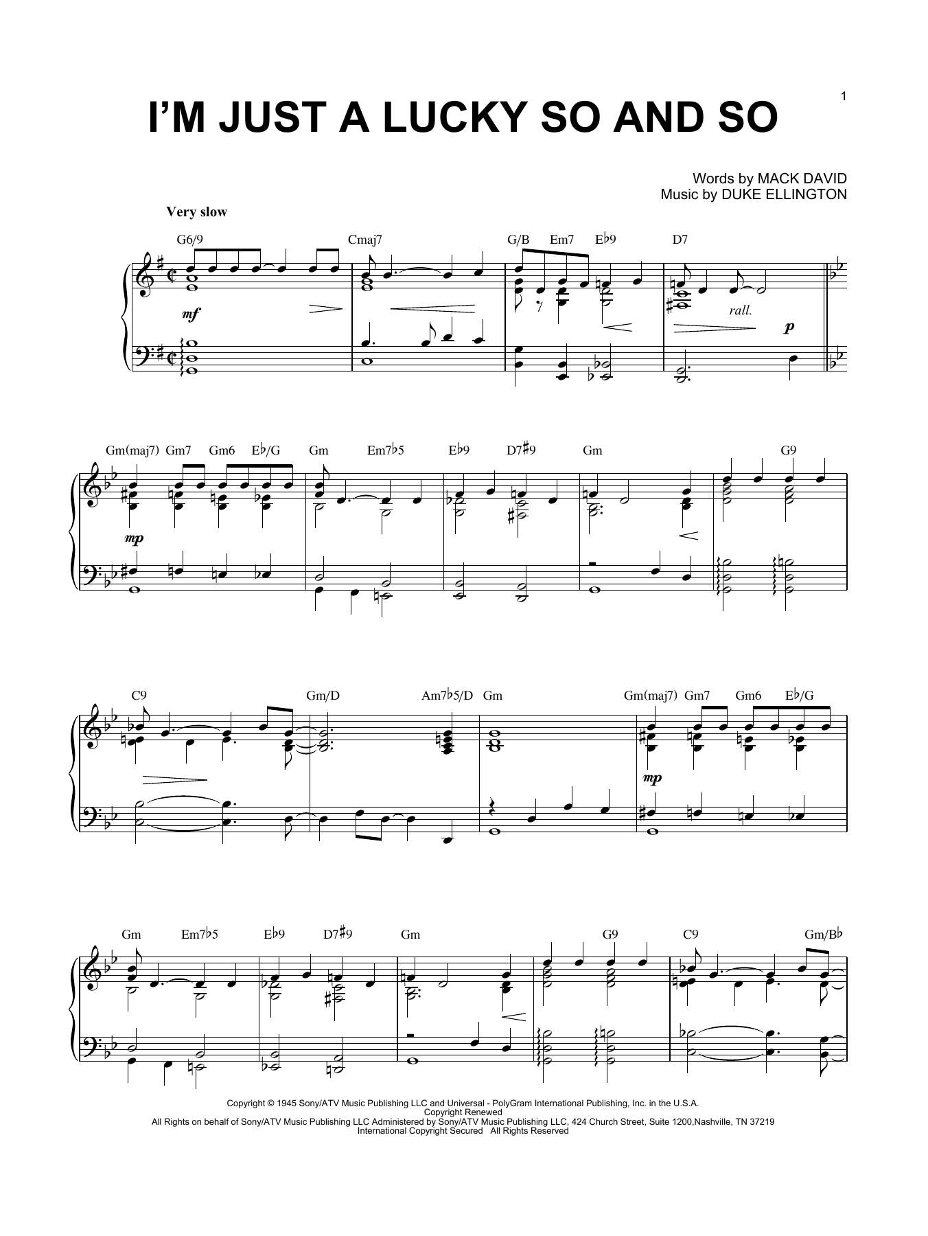 I'm Just A Lucky So And So (Piano Solo)