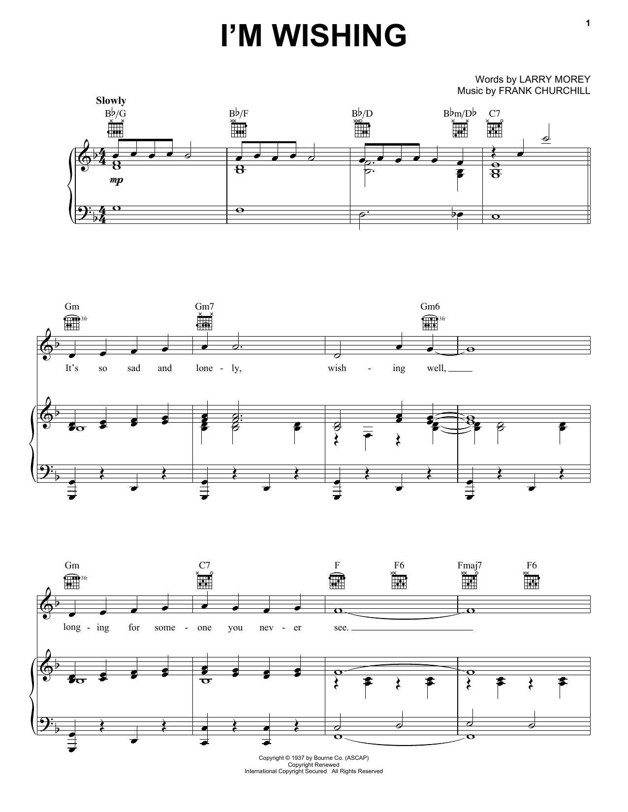 I'm Wishing (from Walt Disney's Snow White and the Seven Dwarfs) (Piano, Vocal & Guitar (Right-Hand Melody))