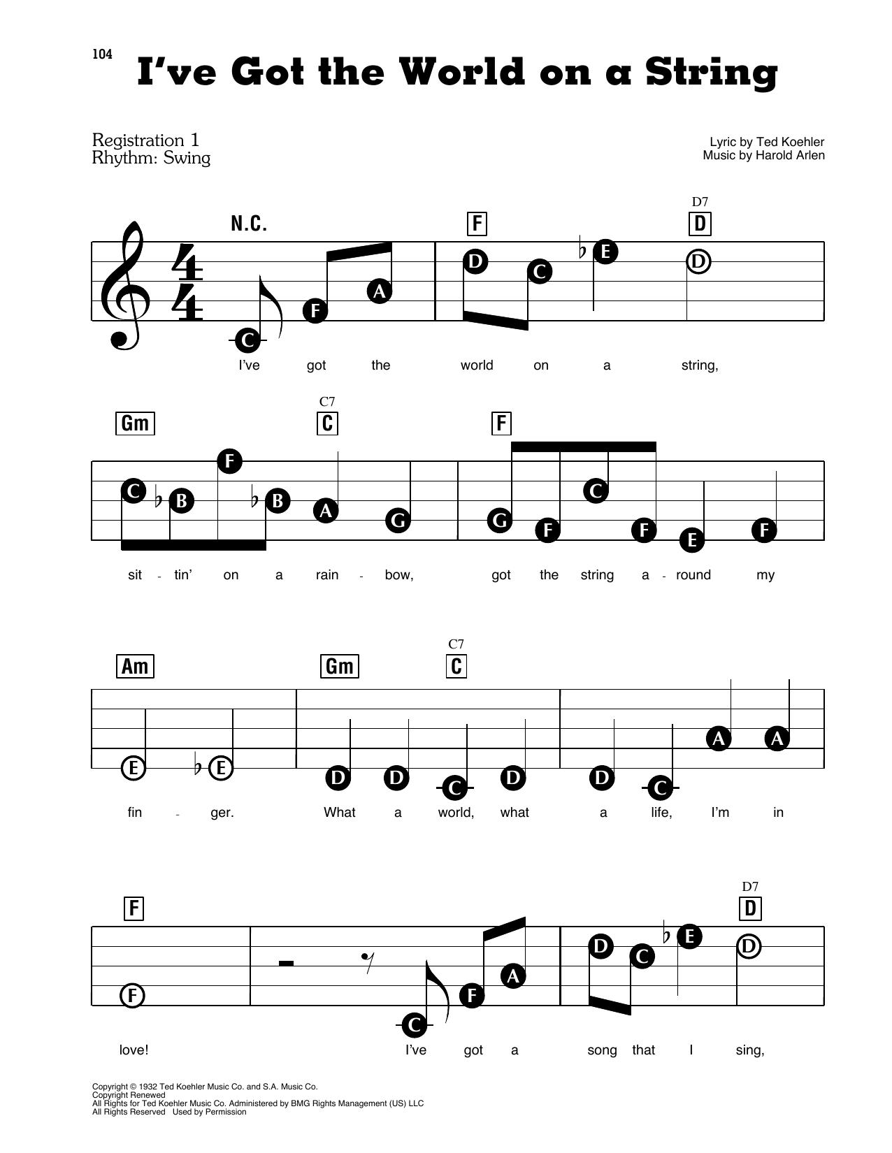 I've Got The World On A String (E-Z Play Today)