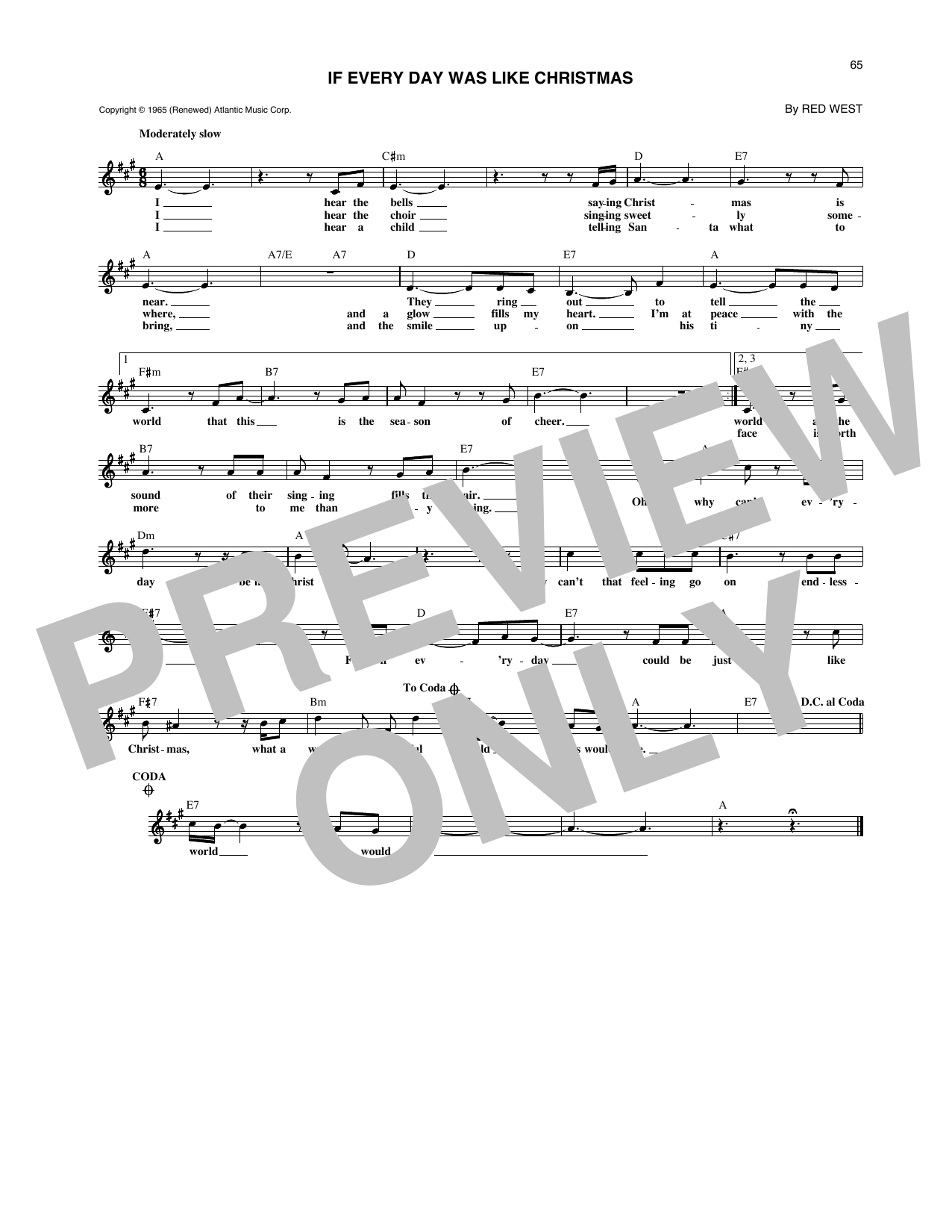 If Every Day Was Like Christmas (Lead Sheet / Fake Book)