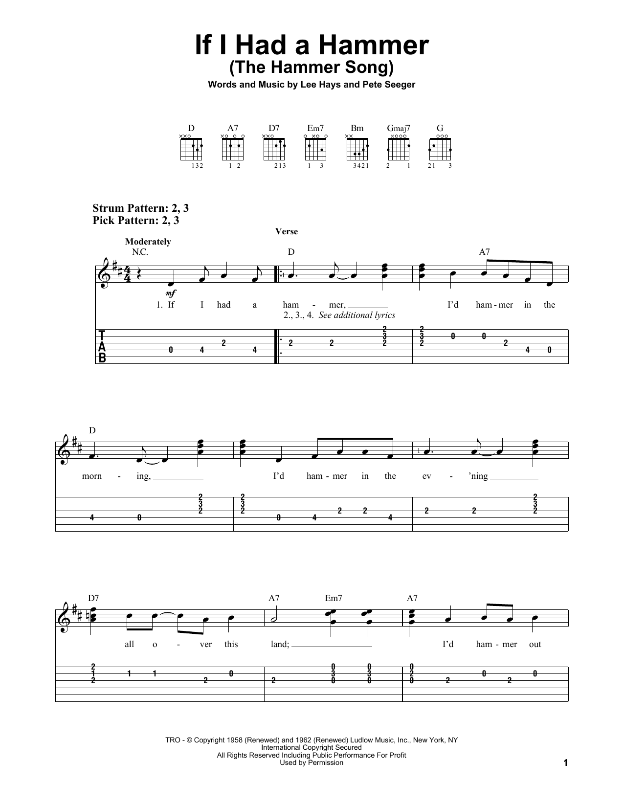 If I Had A Hammer (The Hammer Song) (Easy Guitar Tab)