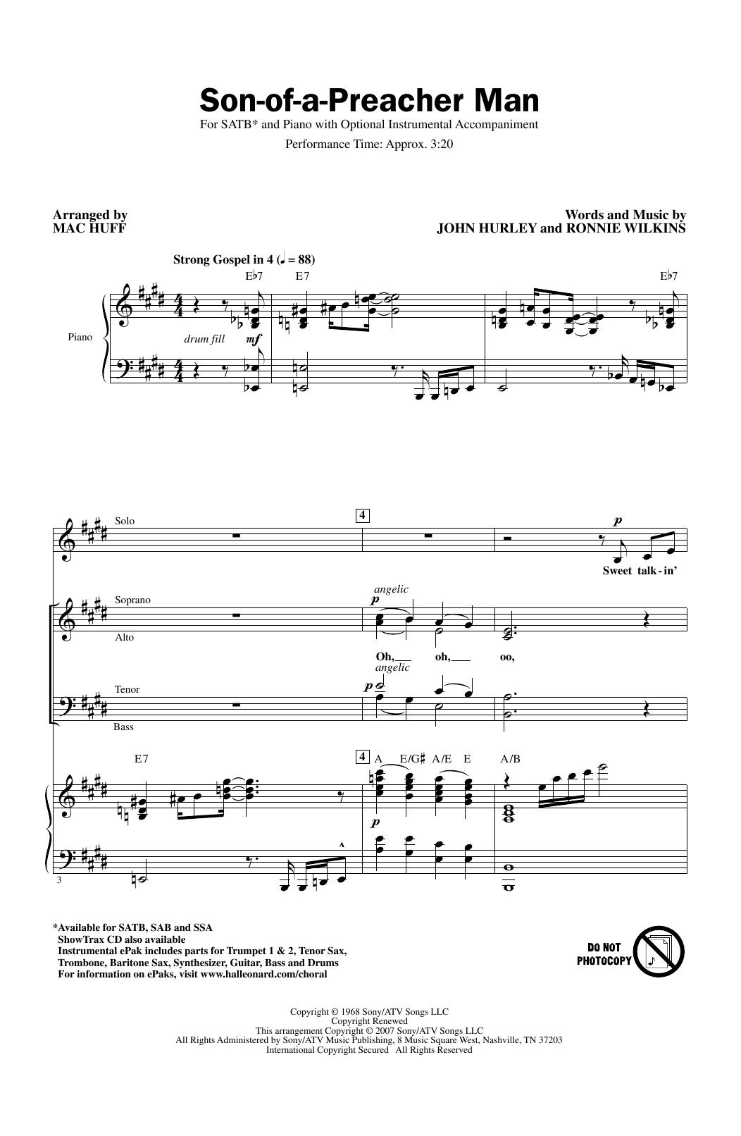 Son-Of-A-Preacher Man (arr. Mac Huff) (SATB Choir)