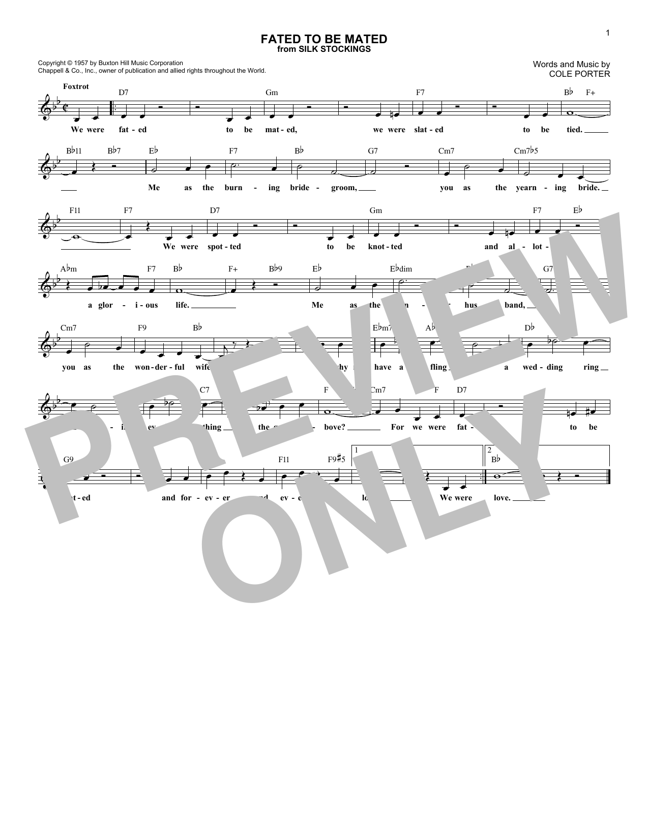 Fated To Be Mated (Lead Sheet / Fake Book)
