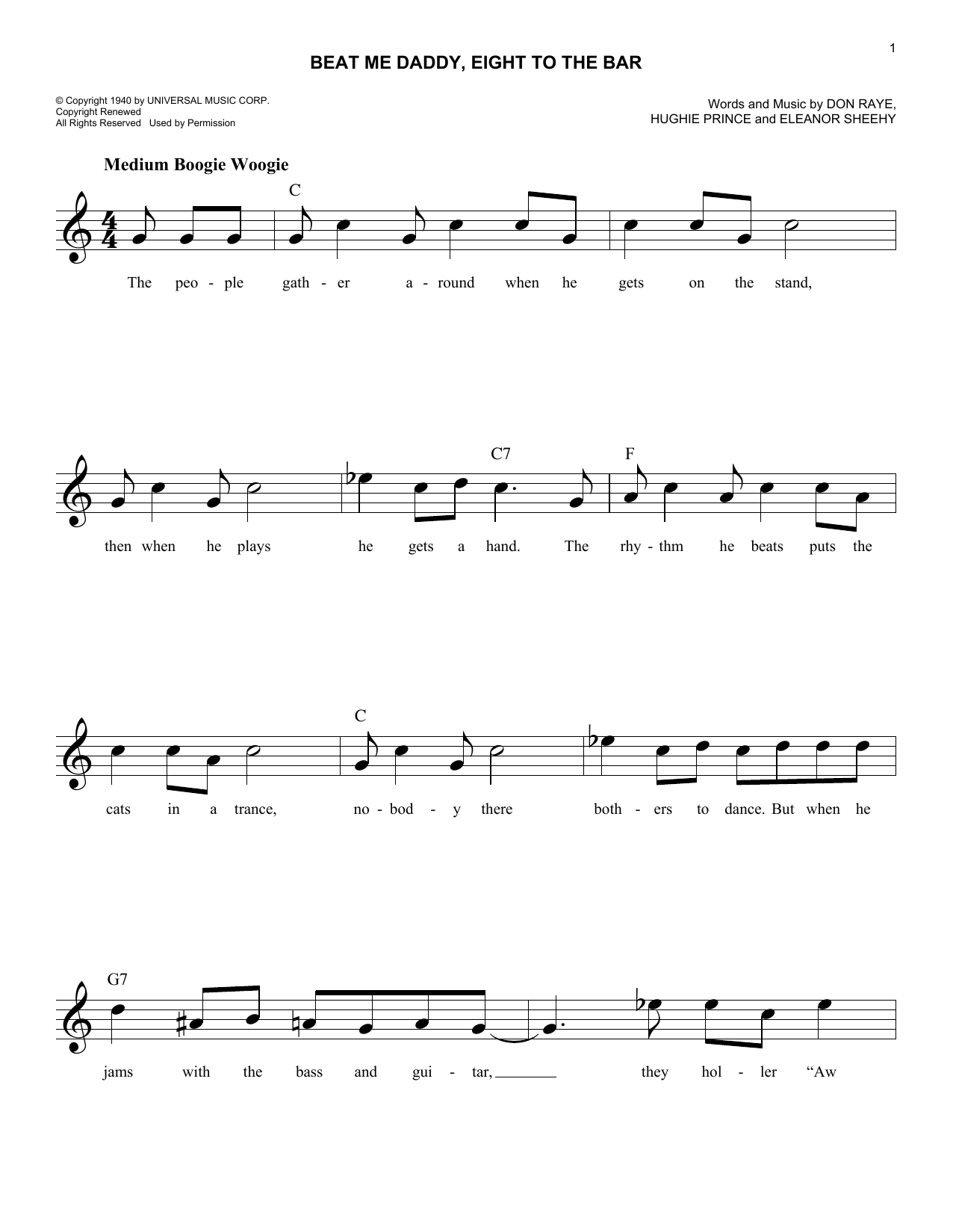 Beat Me Daddy, Eight To The Bar (Lead Sheet / Fake Book)
