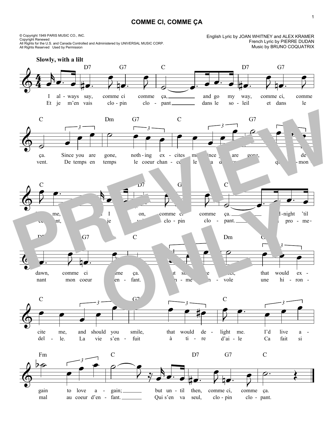 Comme Ci, Comme Ca (Lead Sheet / Fake Book)