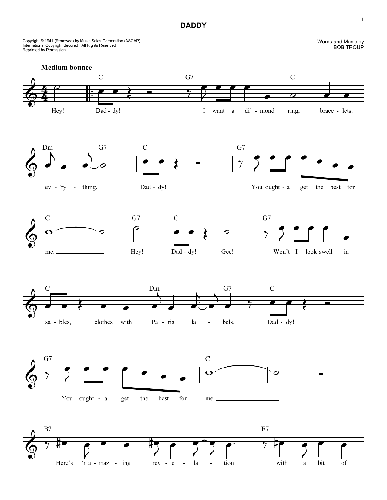 Daddy (Lead Sheet / Fake Book)