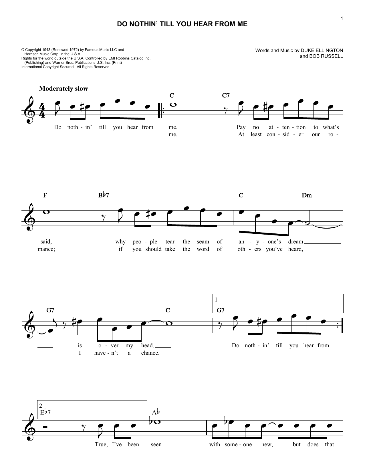 Do Nothin' Till You Hear From Me (Lead Sheet / Fake Book)