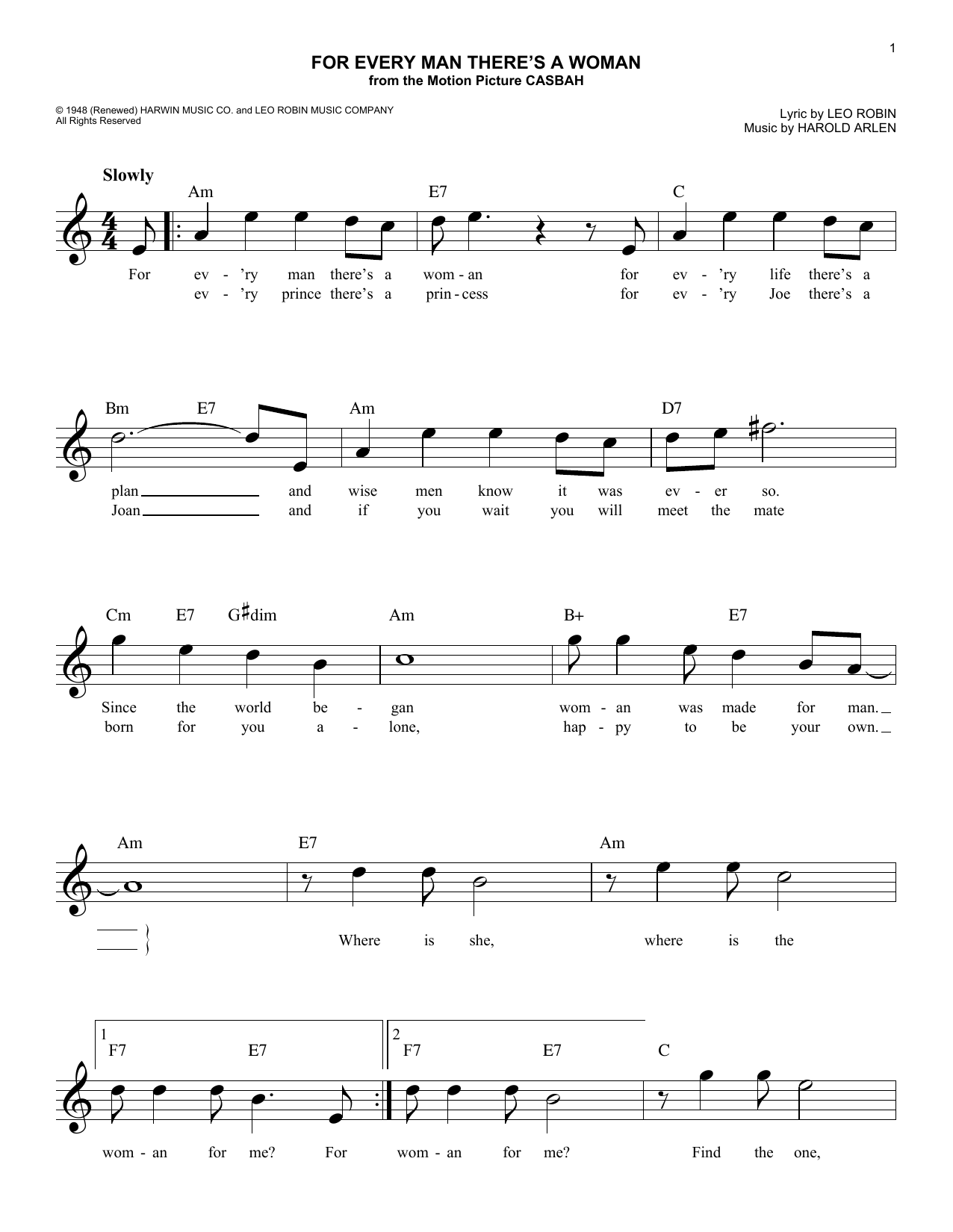 For Every Man There's A Woman (Lead Sheet / Fake Book)