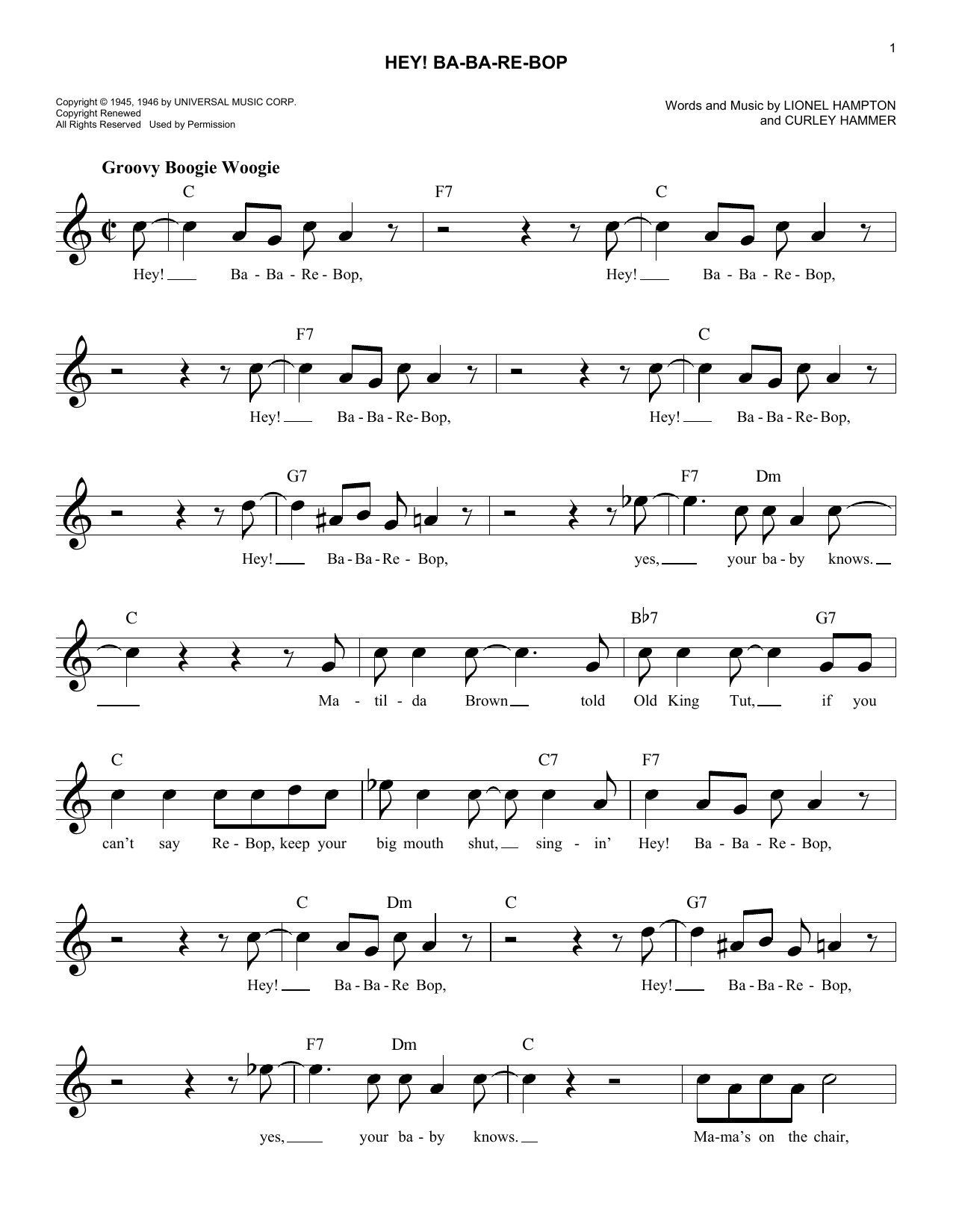 Hey! Ba-Ba-Re-Bop (Lead Sheet / Fake Book)