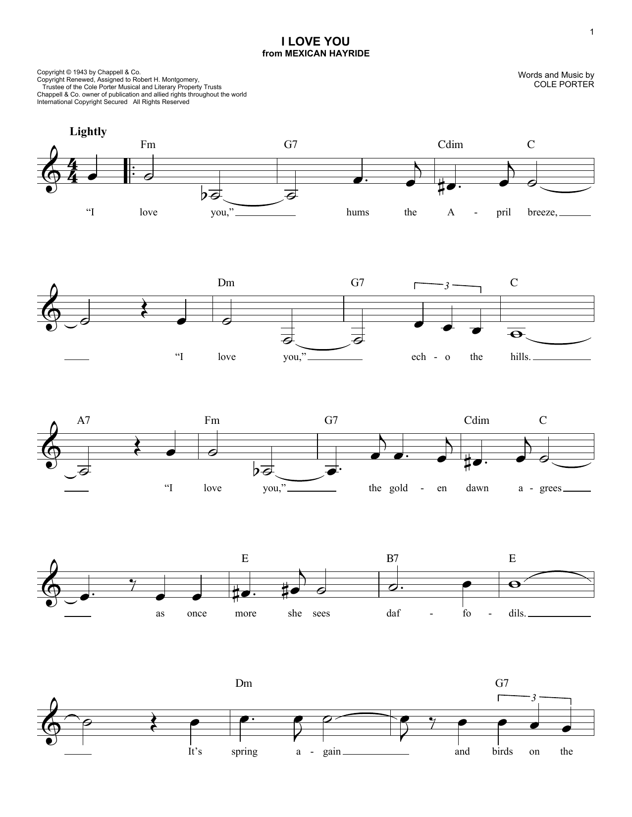 I Love You (Lead Sheet / Fake Book)