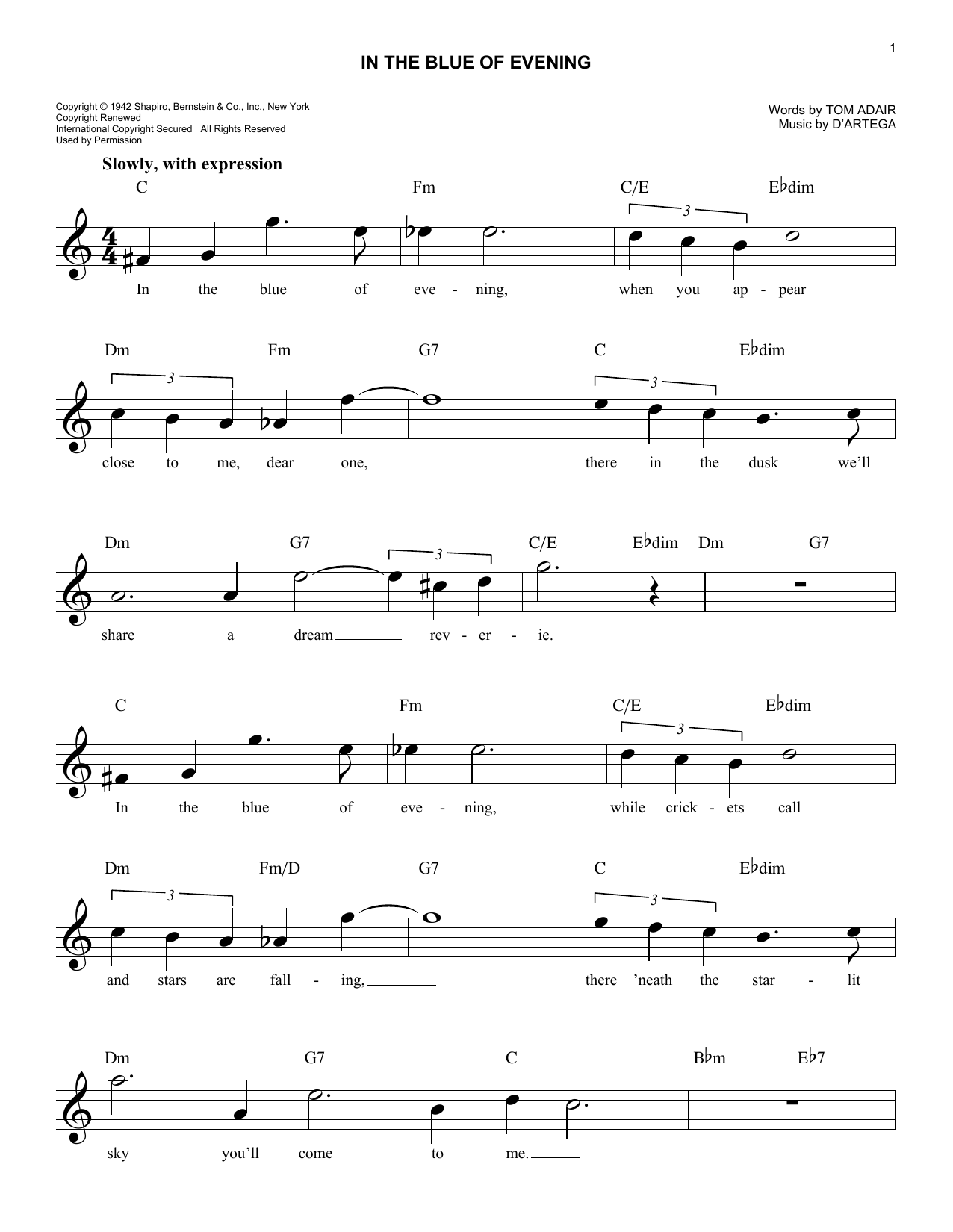 In The Blue Of Evening (Lead Sheet / Fake Book)
