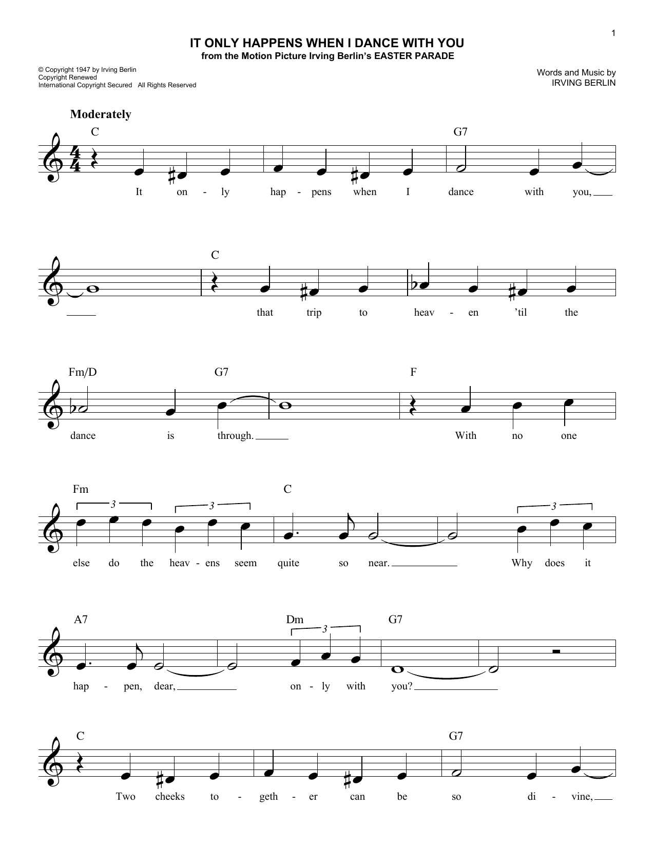 It Only Happens When I Dance With You (Lead Sheet / Fake Book)