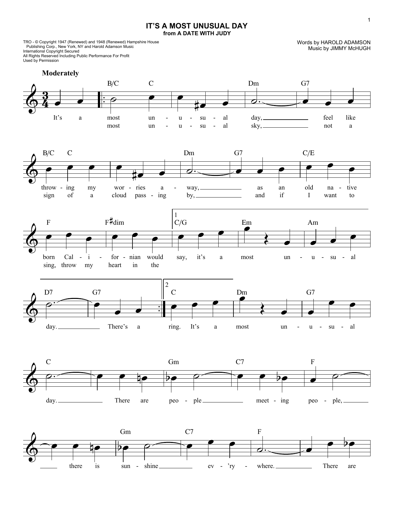 It's A Most Unusual Day (Lead Sheet / Fake Book)