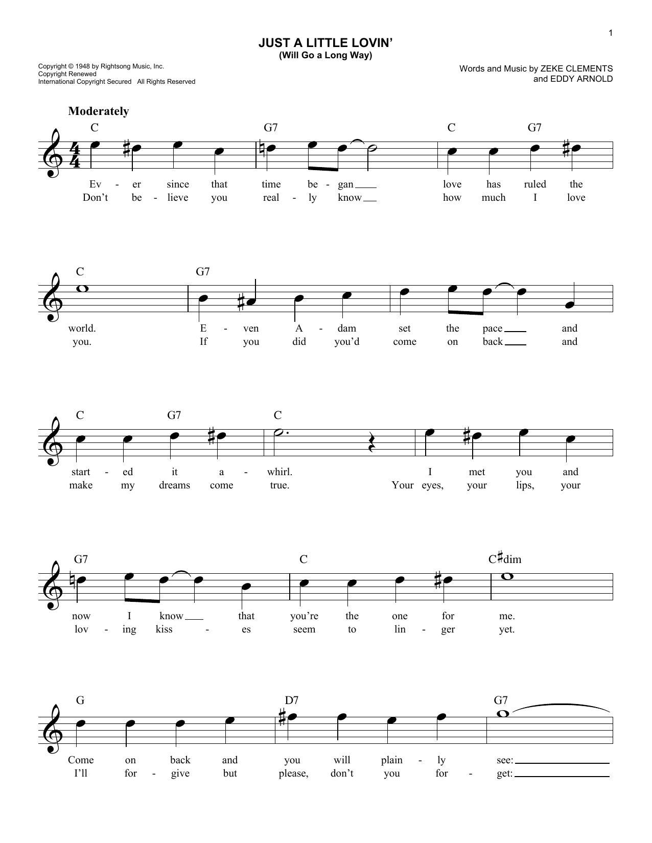 Just A Little Lovin' (Will Go A Long Way) (Lead Sheet / Fake Book)