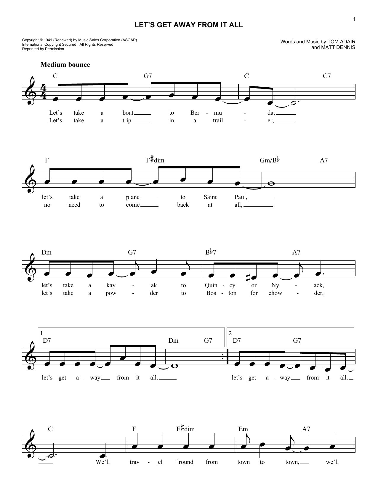 Let's Get Away From It All (Lead Sheet / Fake Book)