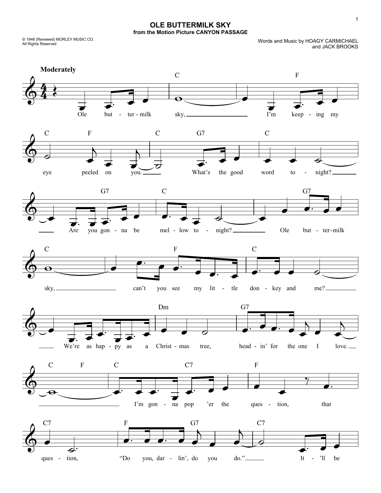 Ole Buttermilk Sky (Lead Sheet / Fake Book)