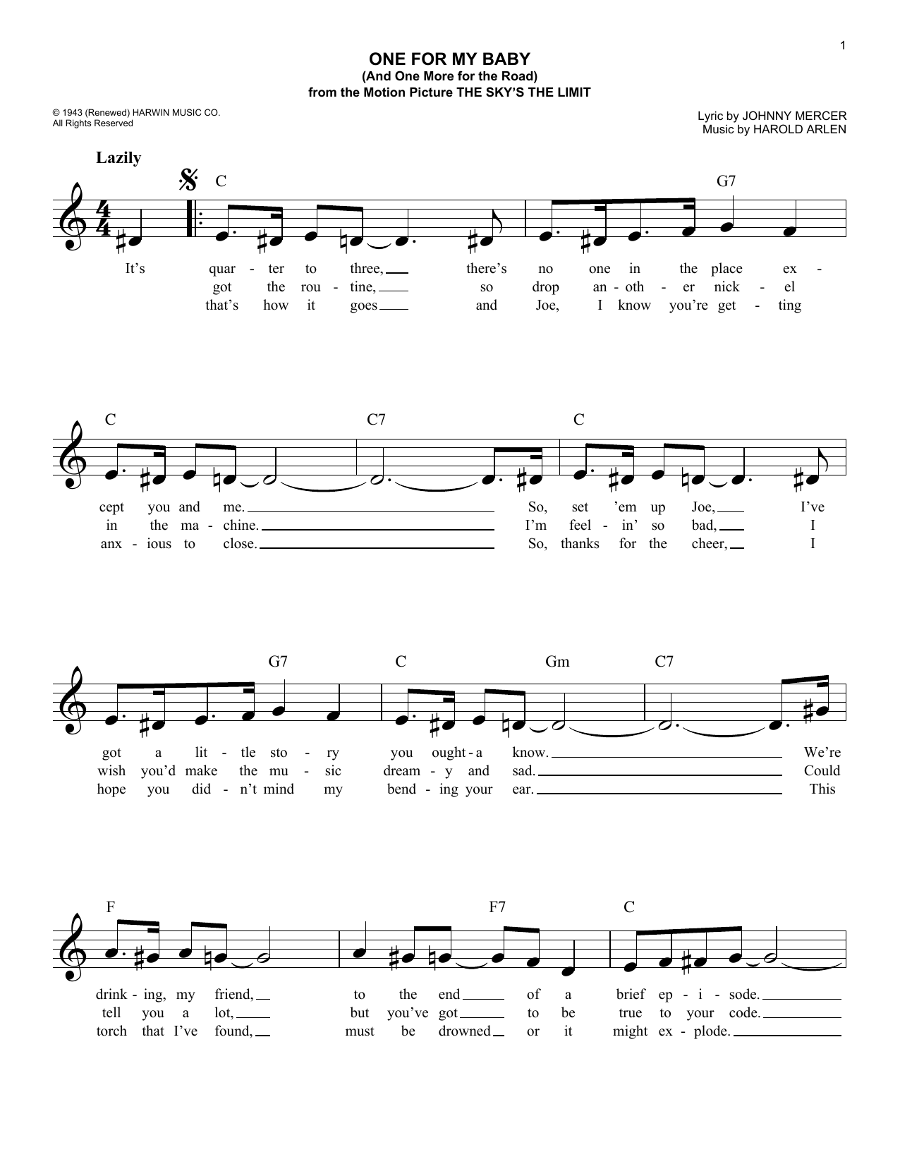 One For My Baby (And One More For The Road) (Lead Sheet / Fake Book)