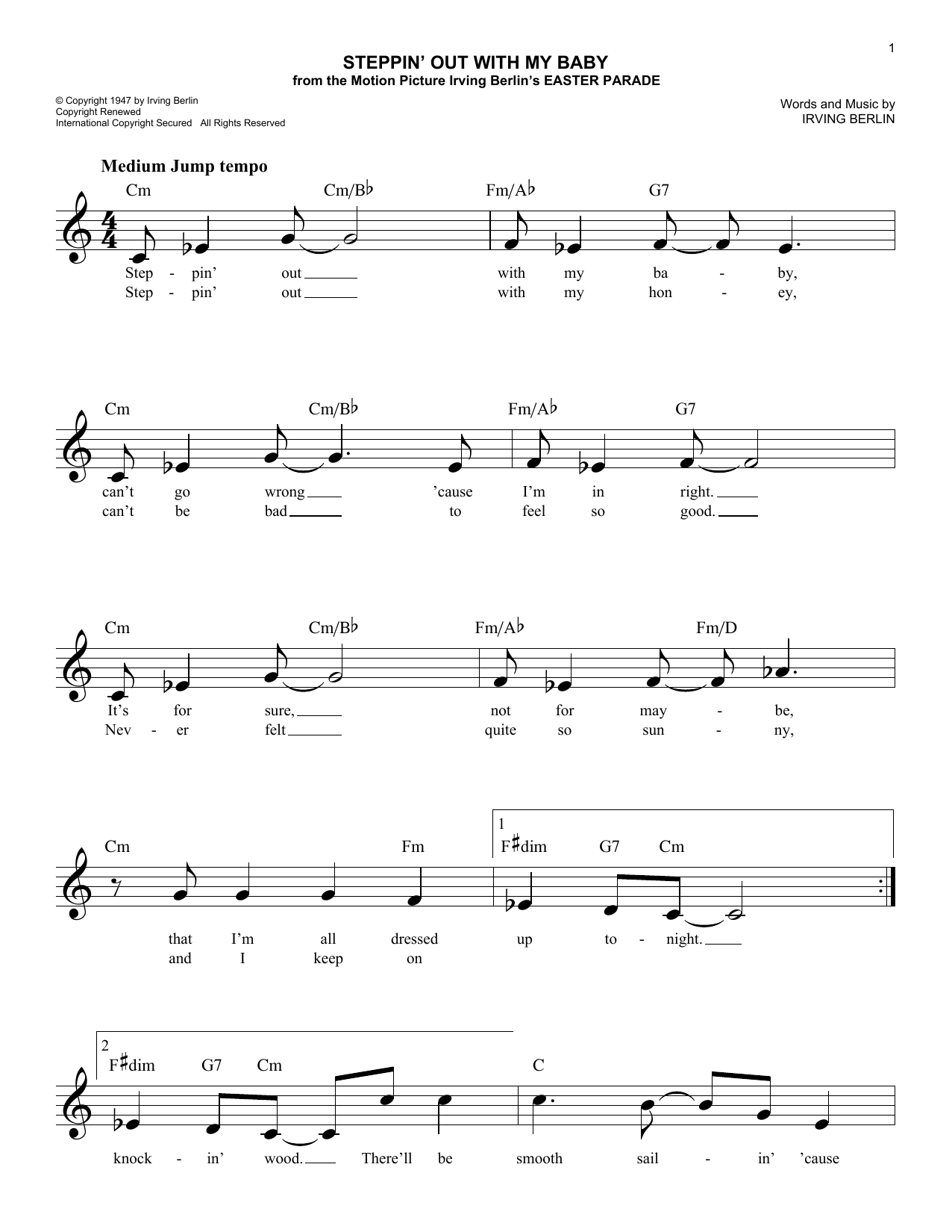 Steppin' Out With My Baby (Lead Sheet / Fake Book)
