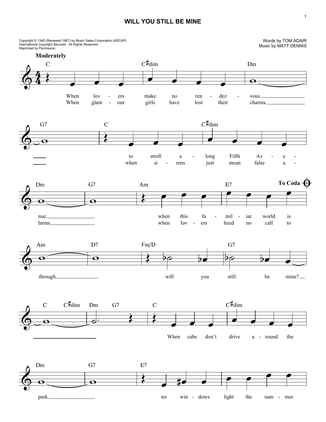 Will You Still Be Mine (Lead Sheet / Fake Book)