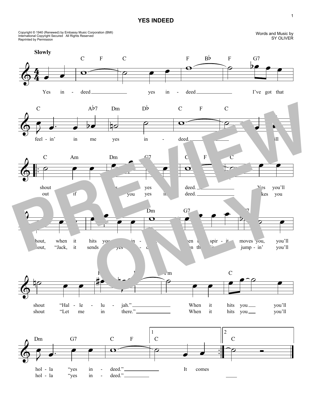 Yes Indeed Sheet Music
