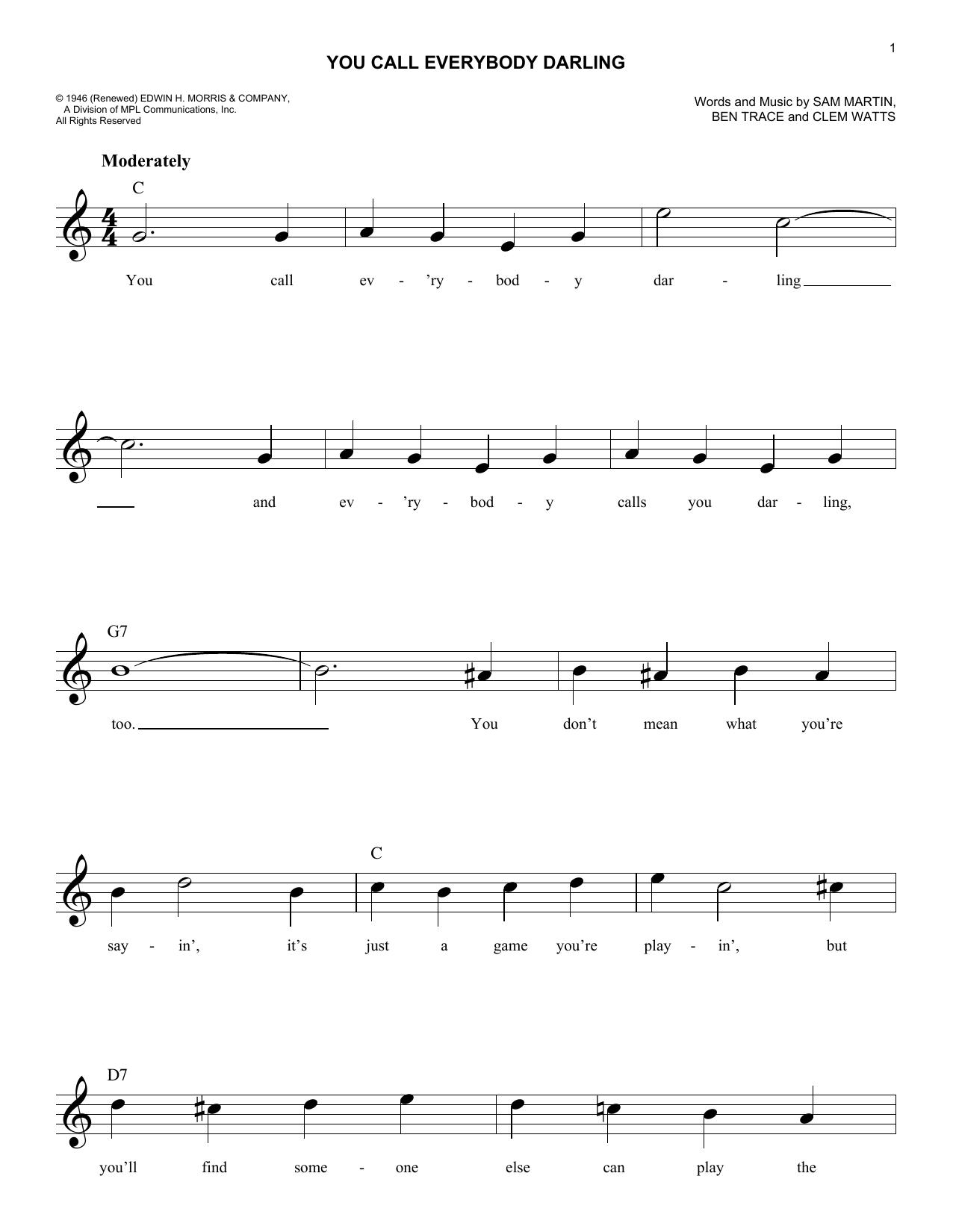 You Call Everybody Darling (Melody Line, Lyrics & Chords)
