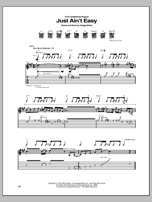 Just Ain't Easy Sheet Music